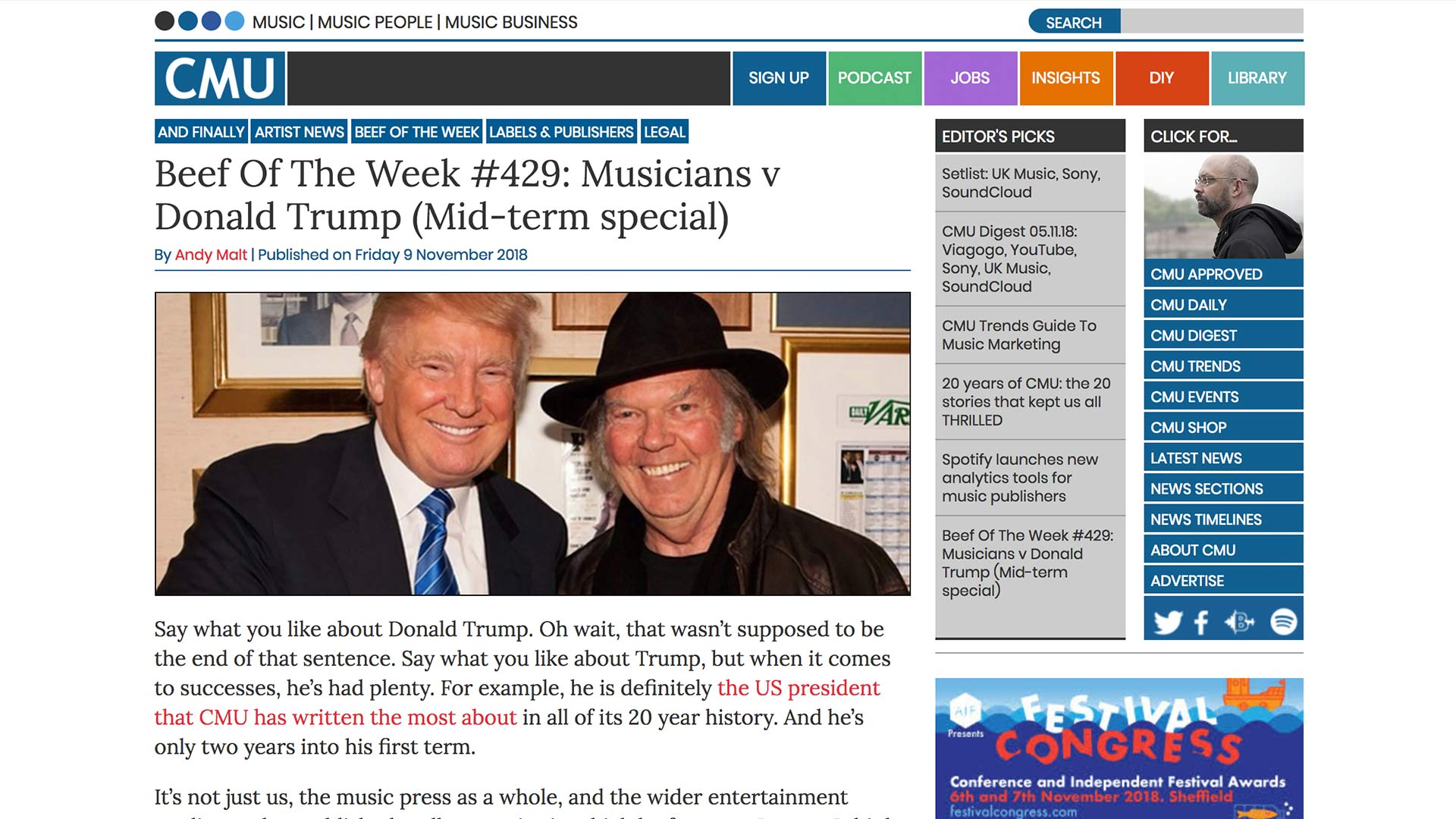 Fairness Rocks News Beef Of The Week #429: Musicians v Donald Trump (Mid-term special)