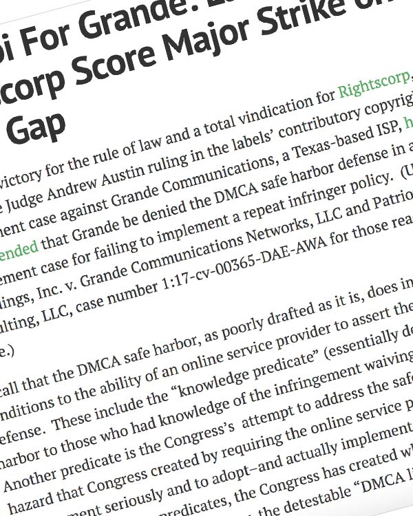 Fairness Rocks News No Alibi For Grande: Labels and Rightscorp Score Major Strike on Value Gap