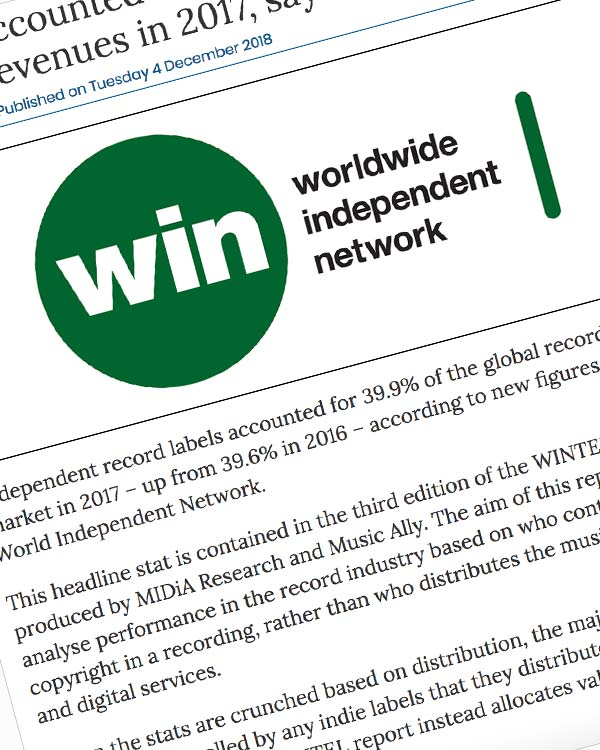Fairness Rocks News Indies accounted for 39.9% of recorded music revenues in 2017, says WIN
