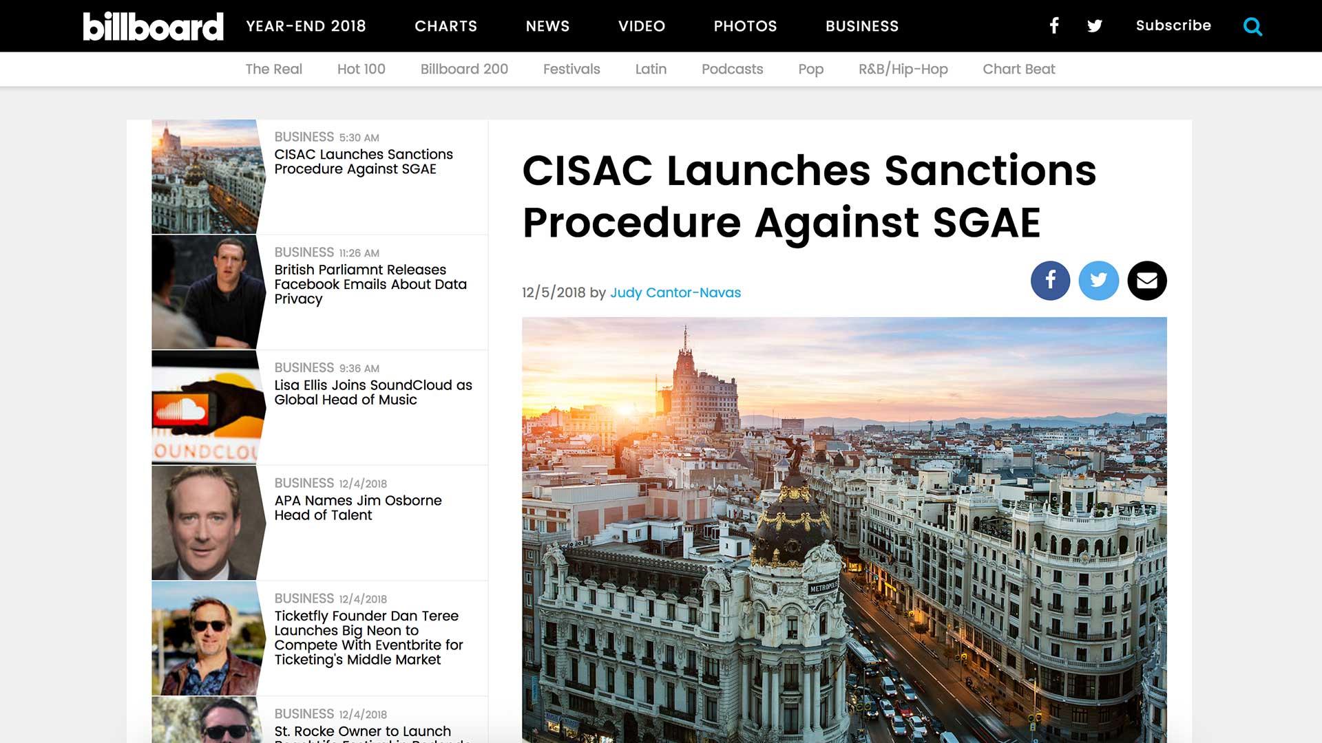 Fairness Rocks News CISAC Launches Sanctions Procedure Against SGAE