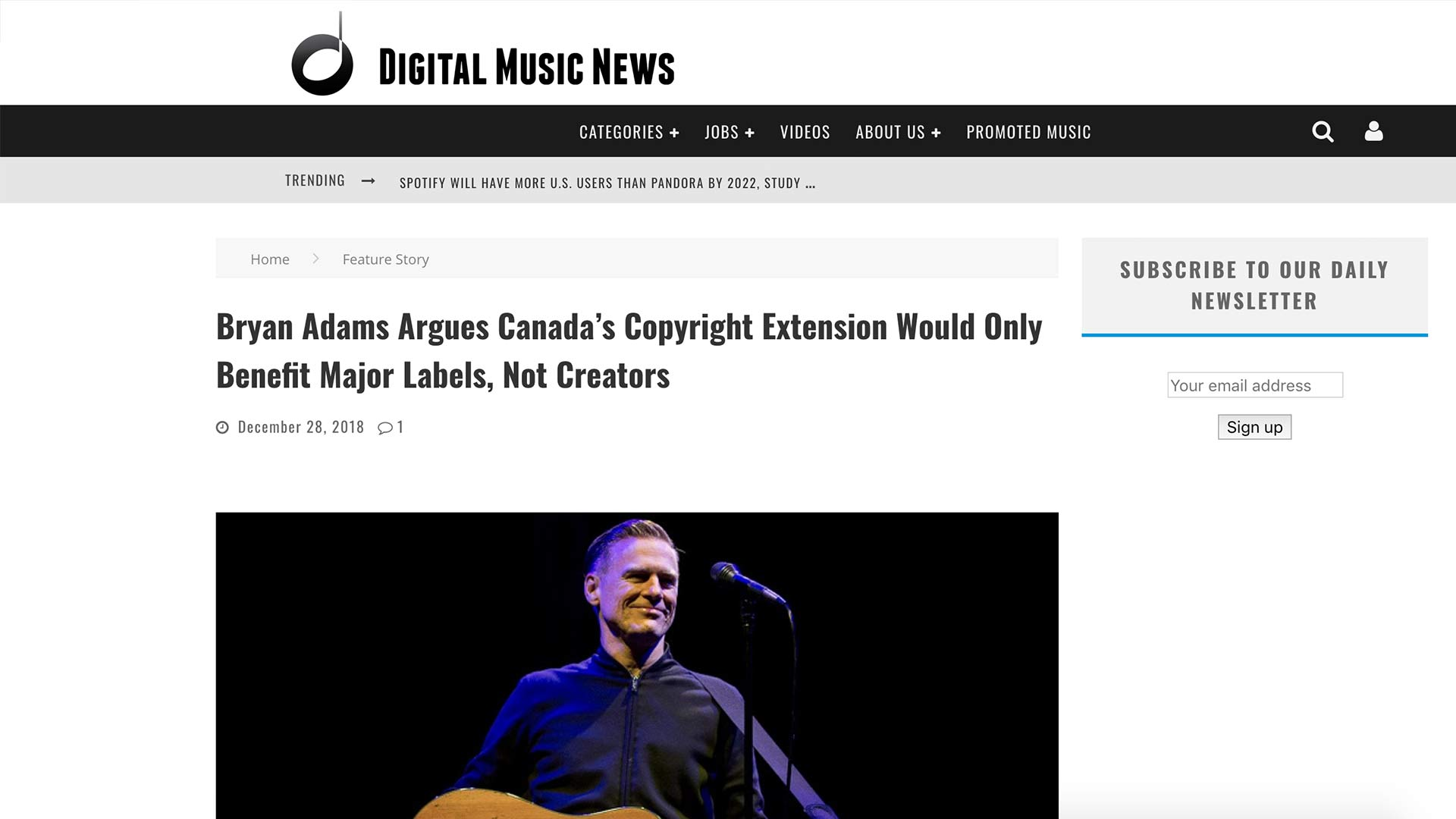 Fairness Rocks News Bryan Adams Argues Canada's Copyright Extension Would Only Benefit Major Labels, Not Creators