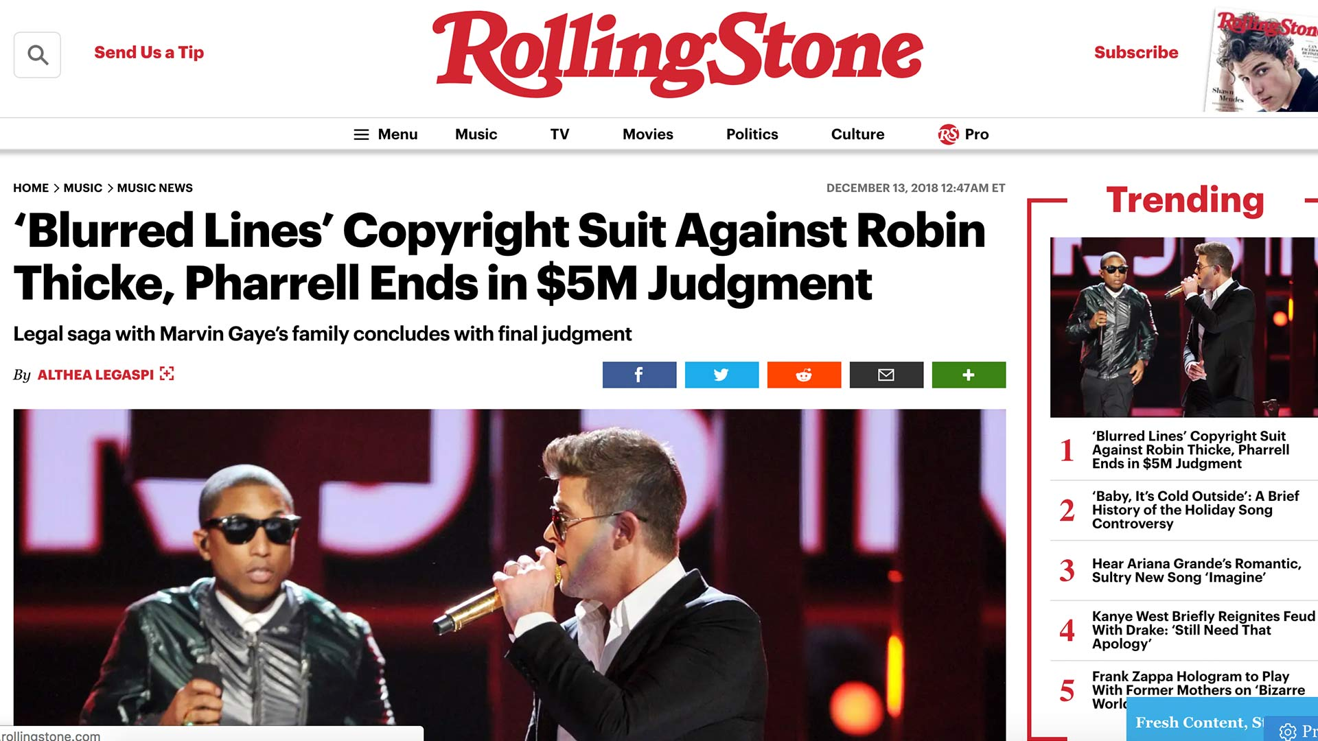 Fairness Rocks News 'Blurred Lines' Copyright Suit Against Robin Thicke, Pharrell Ends in $5M Judgment