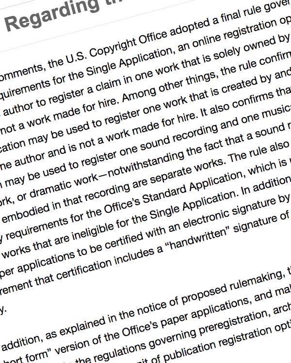 Fairness Rocks News Final Rule Regarding the Single Application