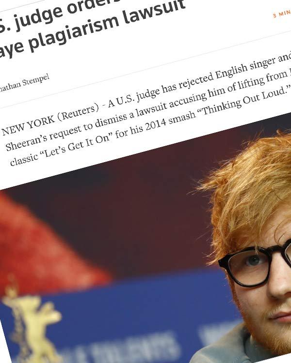 Fairness Rocks News U.S. judge orders Ed Sheeran to face Marvin Gaye plagiarism lawsuit