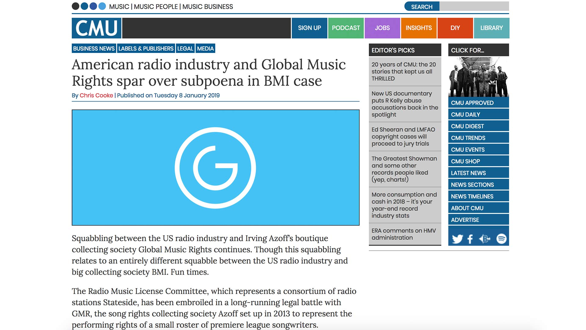 Fairness Rocks News American radio industry and Global Music Rights spar over subpoena in BMI case