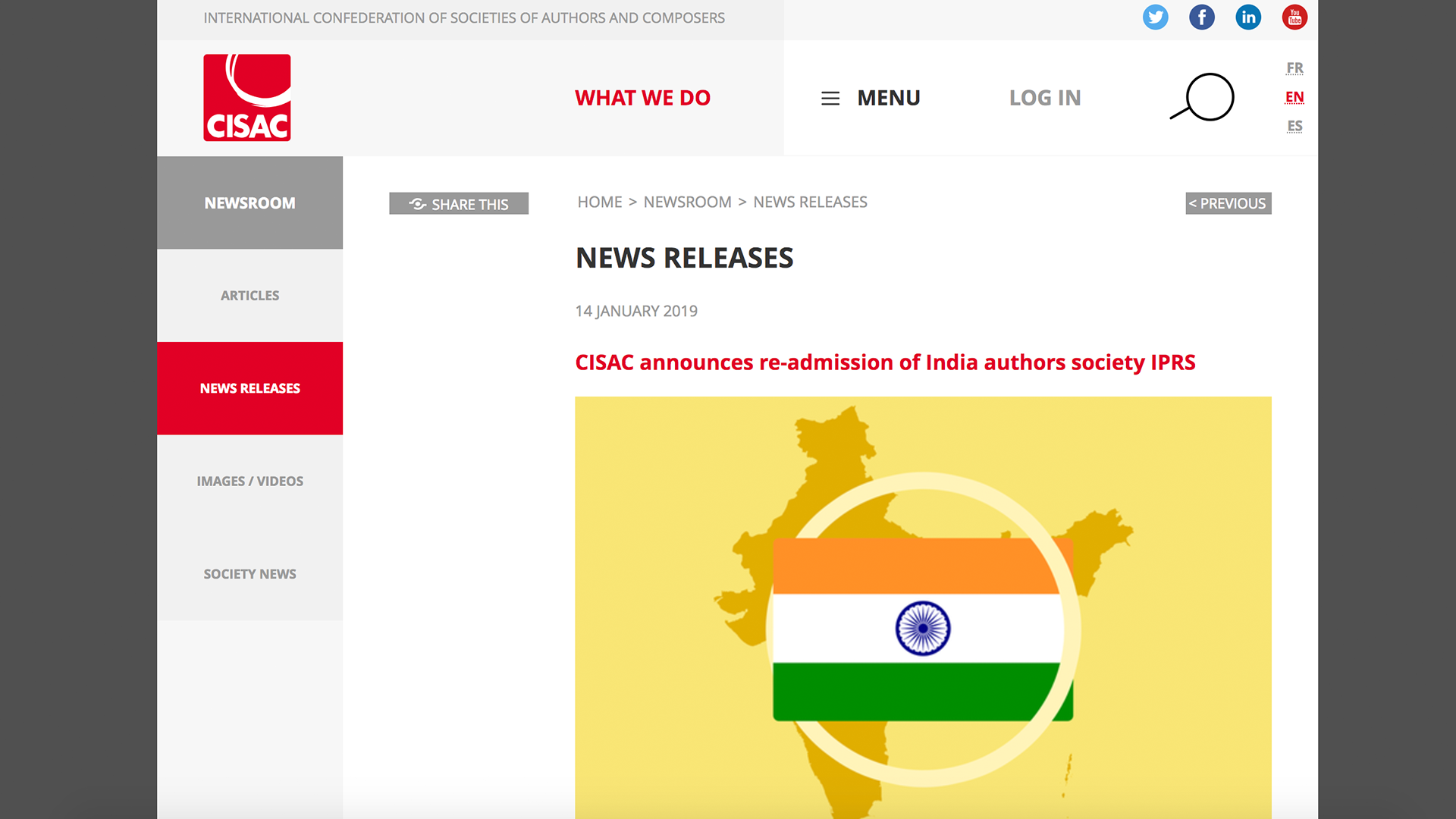 Fairness Rocks News CISAC announces re-admission of India authors society IPRS