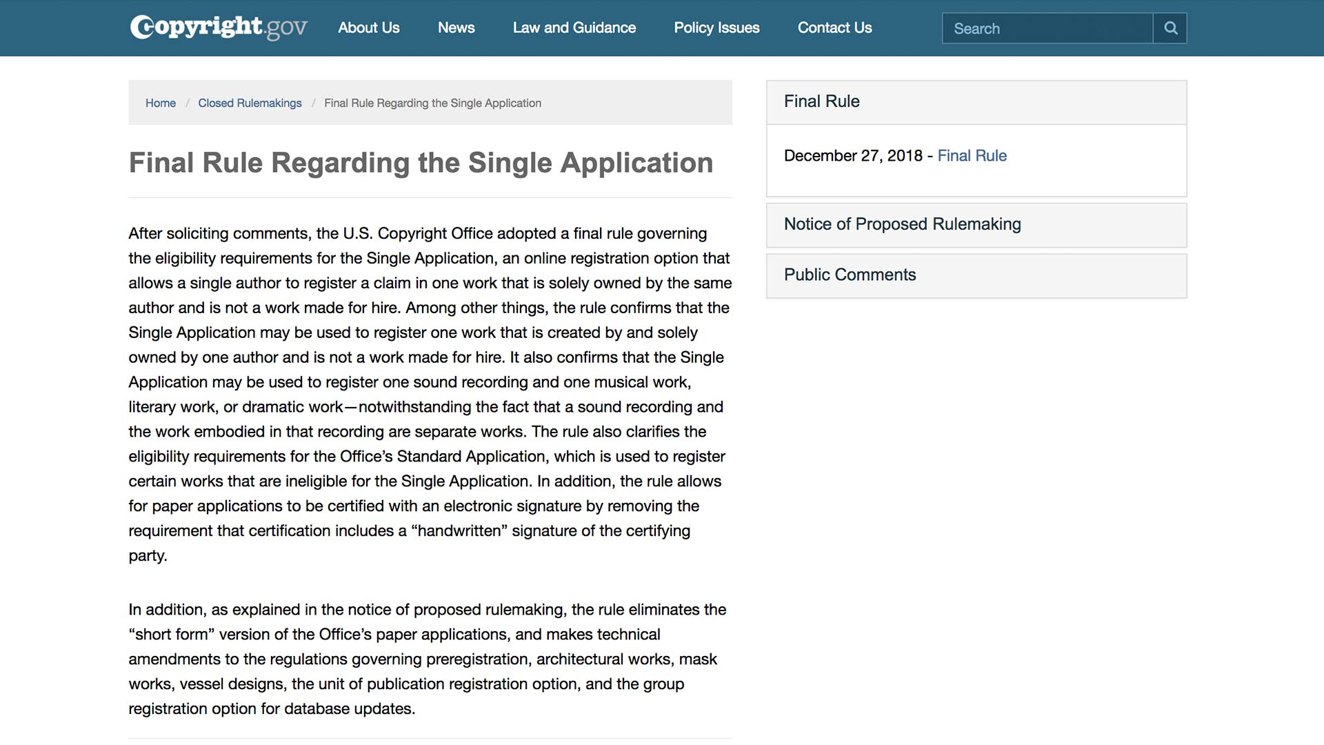 Fairness Rocks News Final Rule Regarding the Single Application