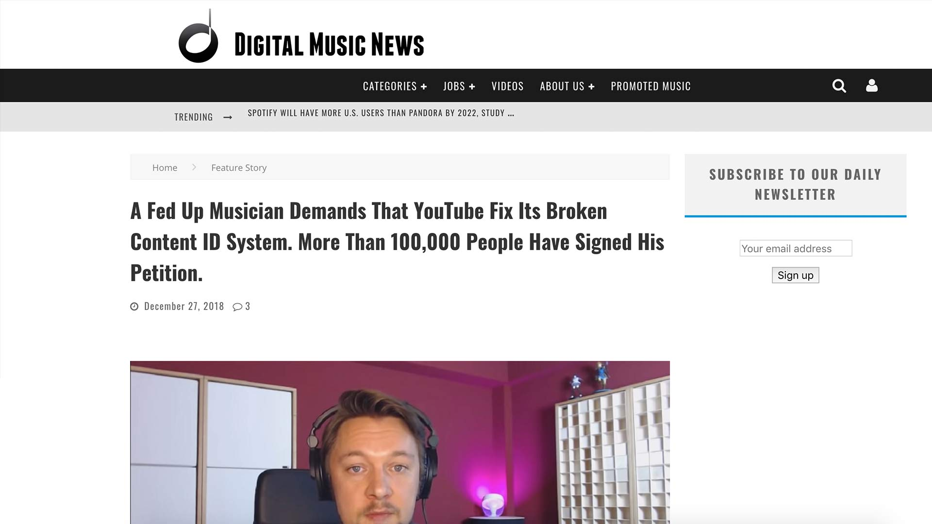 Fairness Rocks News A Fed Up Musician Demands That YouTube Fix Its Broken Content ID System. More Than 100,000 People Have Signed His Petition.