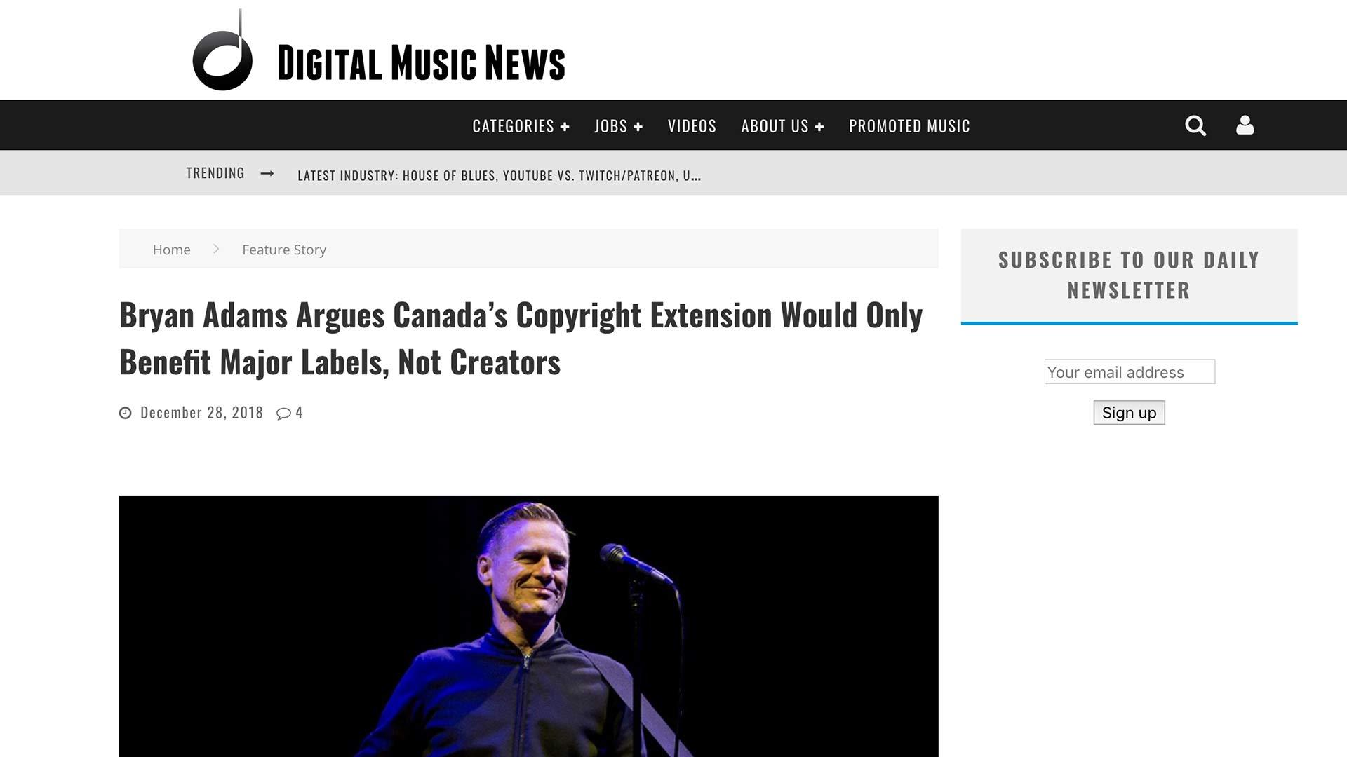 Fairness Rocks News Bryan Adams Argues Canada's Copyright Extension Would Only Benefit Major Labels, Not Creators