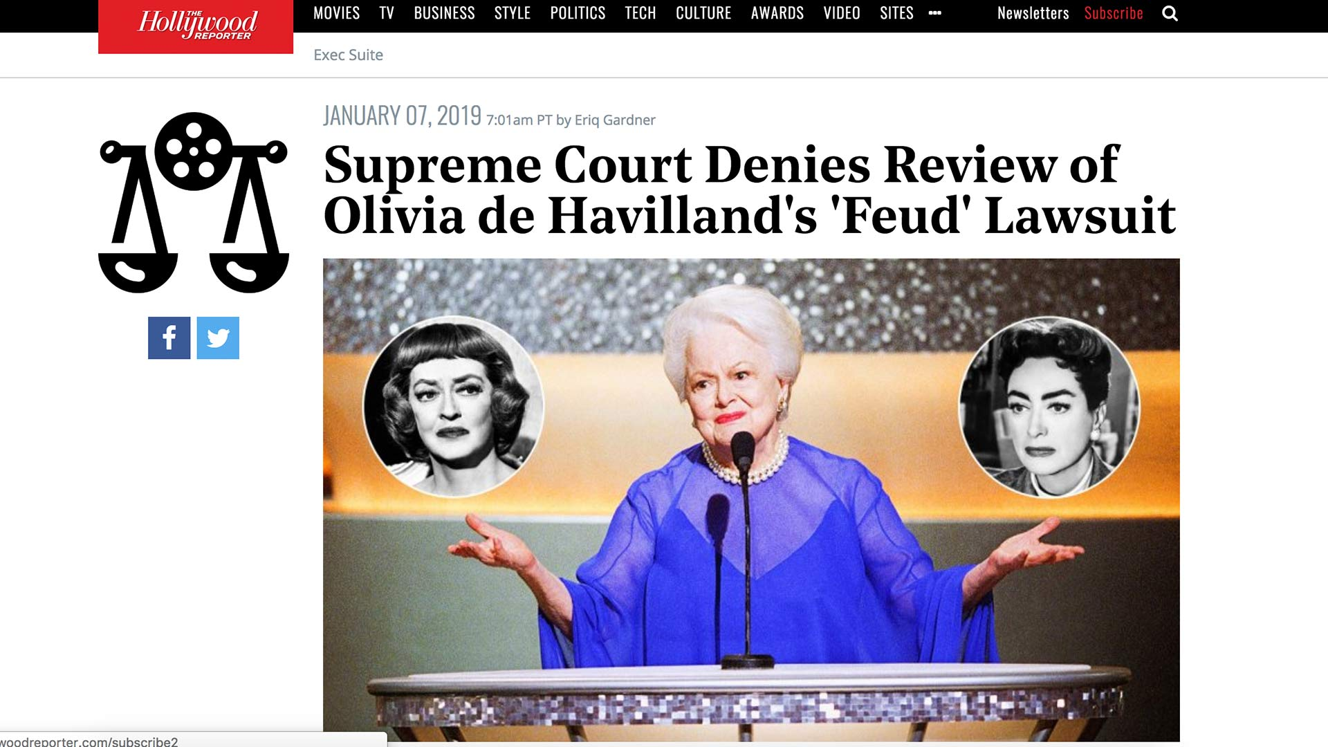 Fairness Rocks News Supreme Court Denies Review of Olivia de Havilland's 'Feud' Lawsuit