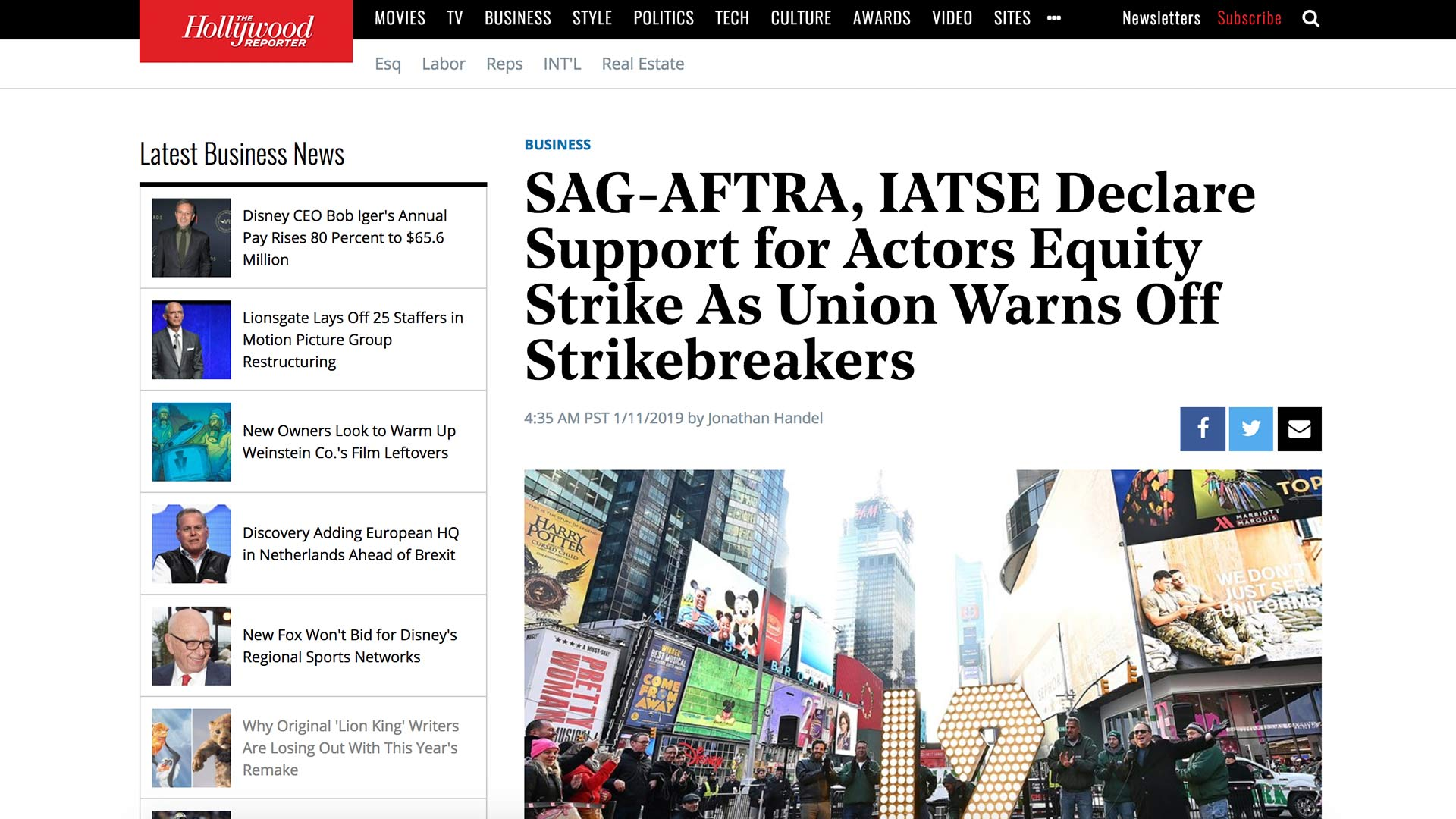 Fairness Rocks News SAG-AFTRA, IATSE Declare Support for Actors Equity Strike As Union Warns Off Strikebreakers