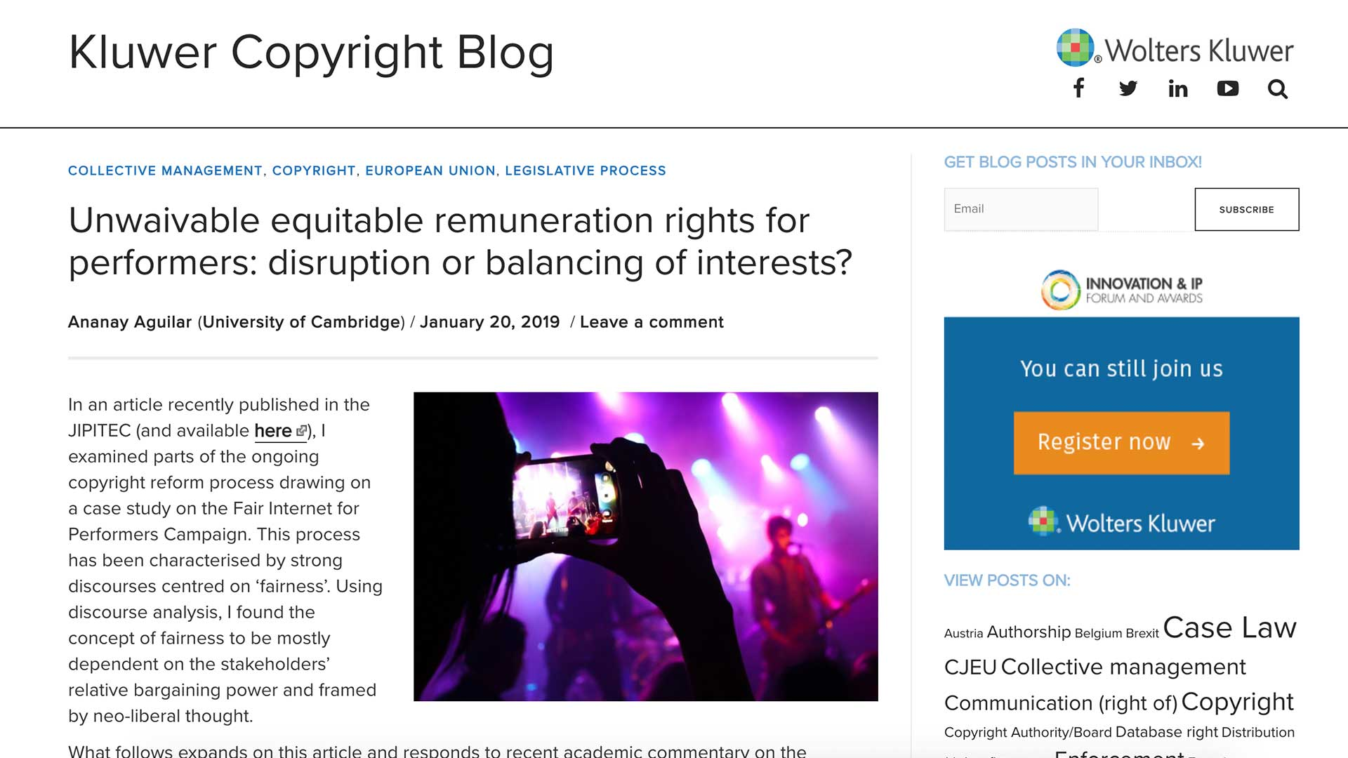 Fairness Rocks News Unwaivable equitable remuneration rights for performers: disruption or balancing of interests?