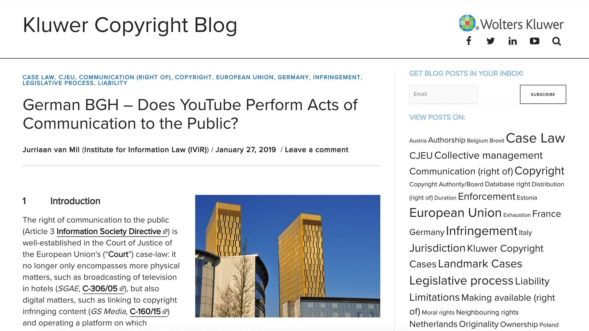 Fairness Rocks News German BGH – Does YouTube Perform Acts of Communication to the Public?
