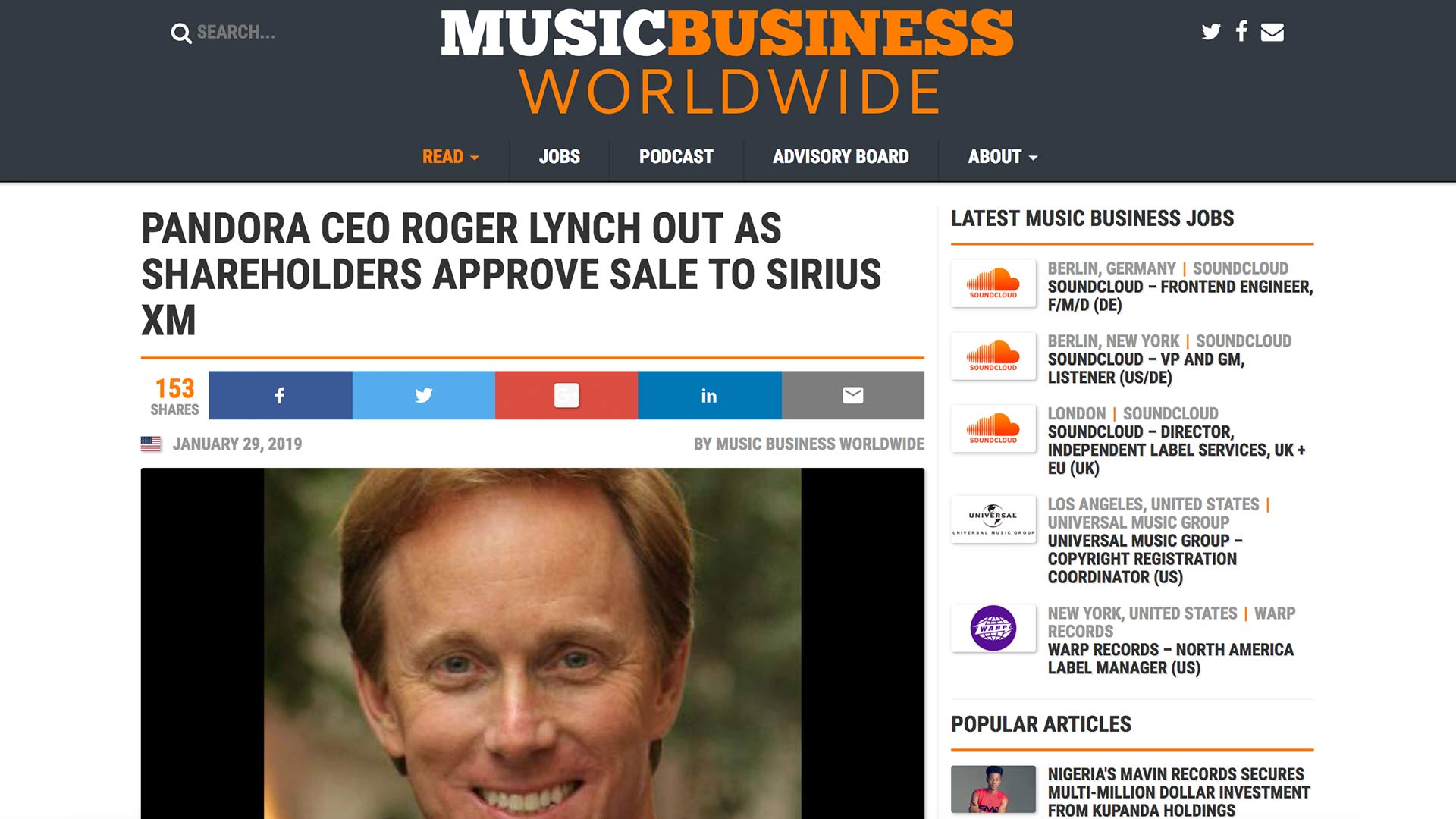 Fairness Rocks News PANDORA CEO ROGER LYNCH OUT AS SHAREHOLDERS APPROVE SALE TO SIRIUS XM