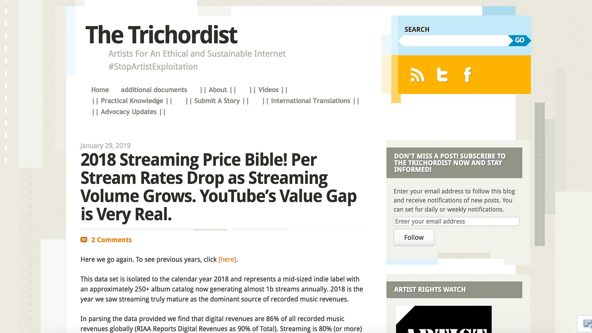 Fairness Rocks News 2018 Streaming Price Bible! Per Stream Rates Drop as Streaming Volume Grows. YouTube's Value Gap is Very Real