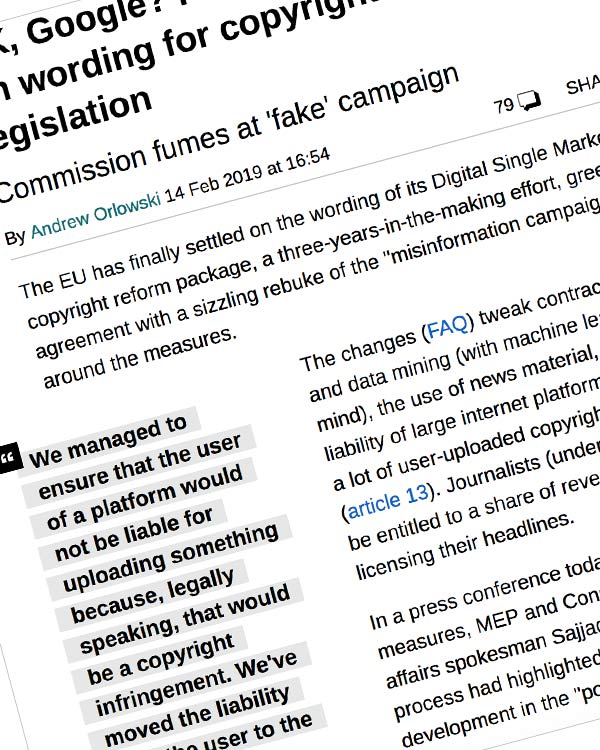Fairness Rocks News OK, Google? Probably not! EU settles on wording for copyright reform legislation