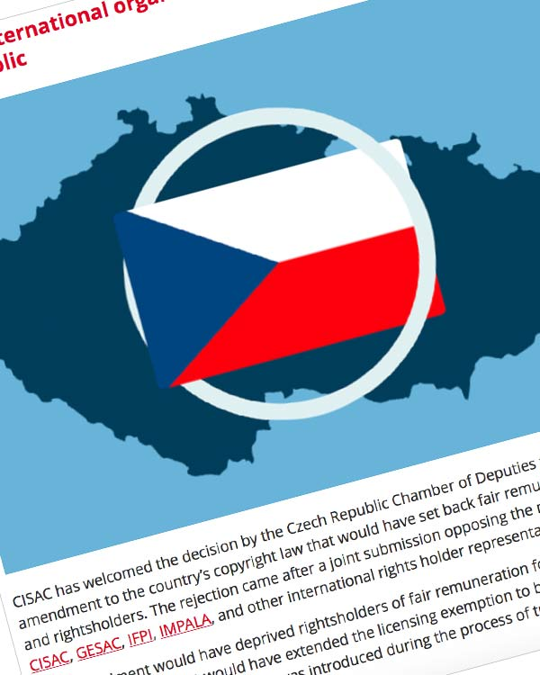 Fairness Rocks News CISAC and international organisations hail Copyright Act vote by Czech Republic