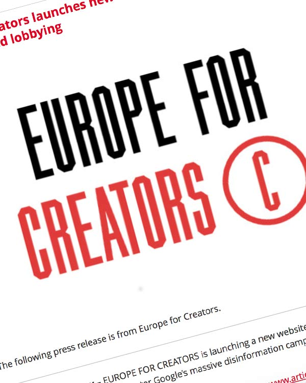 Fairness Rocks News Europe for Creators launches new tools to counter Google's unprecedented lobbying