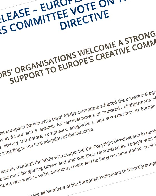 Fairness Rocks News PRESS RELEASE – EUROPEAN PARLIAMENT'S LEGAL AFFAIRS COMMITTEE VOTE ON THE COPYRIGHT DIRECTIVE