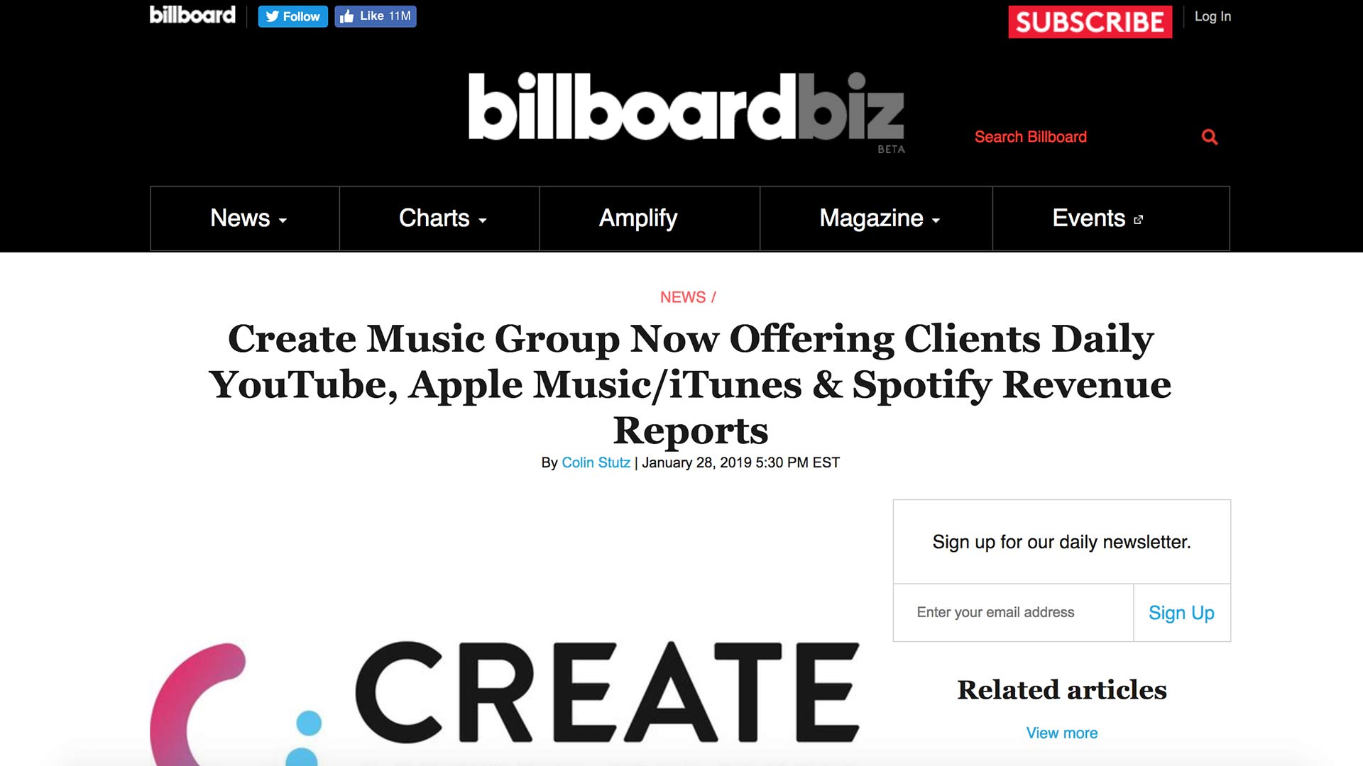 Fairness Rocks News Create Music Group Now Offering Clients Daily YouTube, Apple Music/iTunes & Spotify Revenue Reports