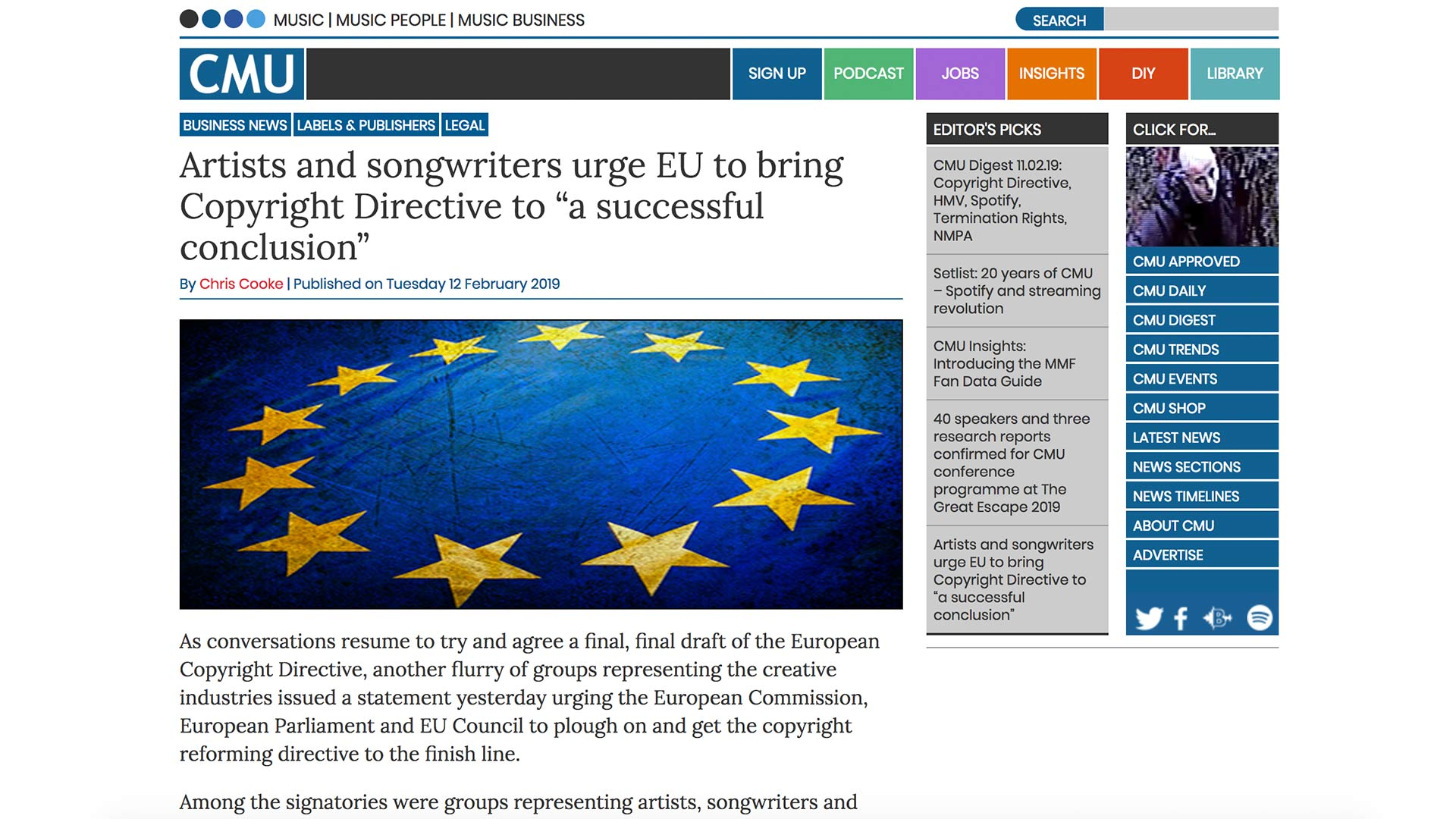 "Fairness Rocks News Artists and songwriters urge EU to bring Copyright Directive to ""a successful conclusion"""