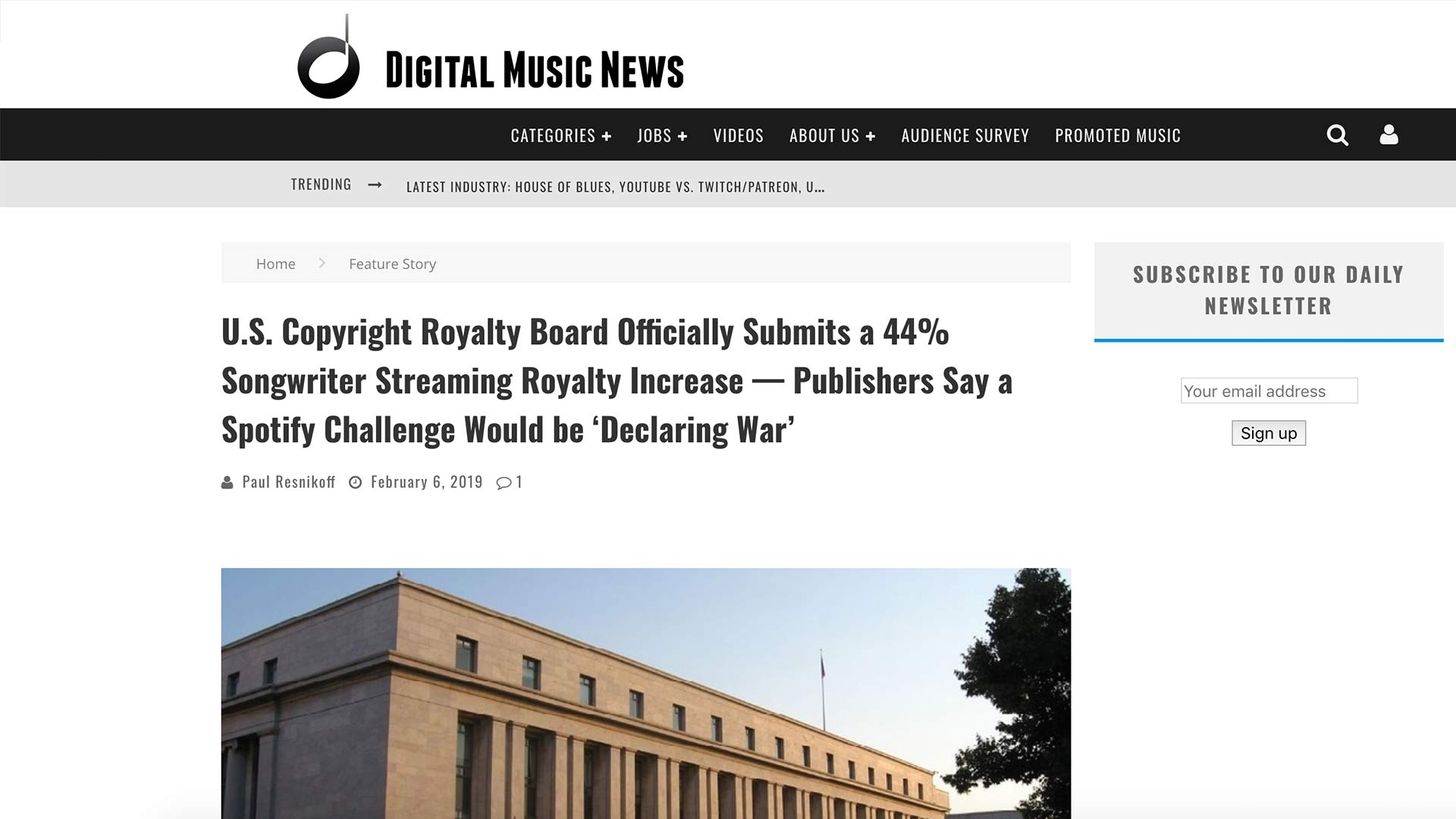 Fairness Rocks News U.S. Copyright Royalty Board Officially Submits a 44% Songwriter Streaming Royalty Increase — Publishers Say a Spotify Challenge Would be 'Declaring War'