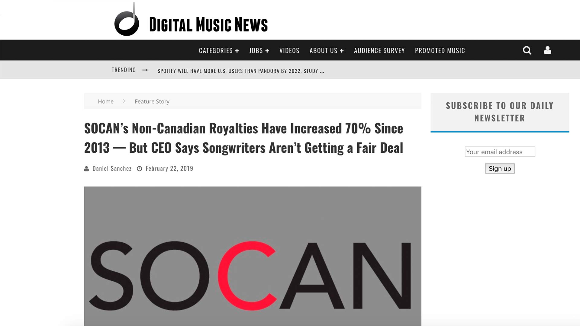 Fairness Rocks News SOCAN's Non-Canadian Royalties Have Increased 70% Since 2013 — But CEO Says Songwriters Aren't Getting a Fair Deal