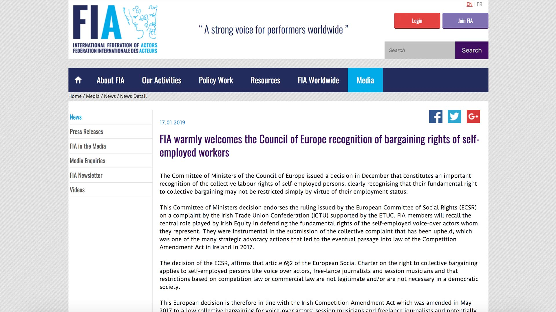 Fairness Rocks News FIA warmly welcomes the Council of Europe recognition of bargaining rights of self-employed workers
