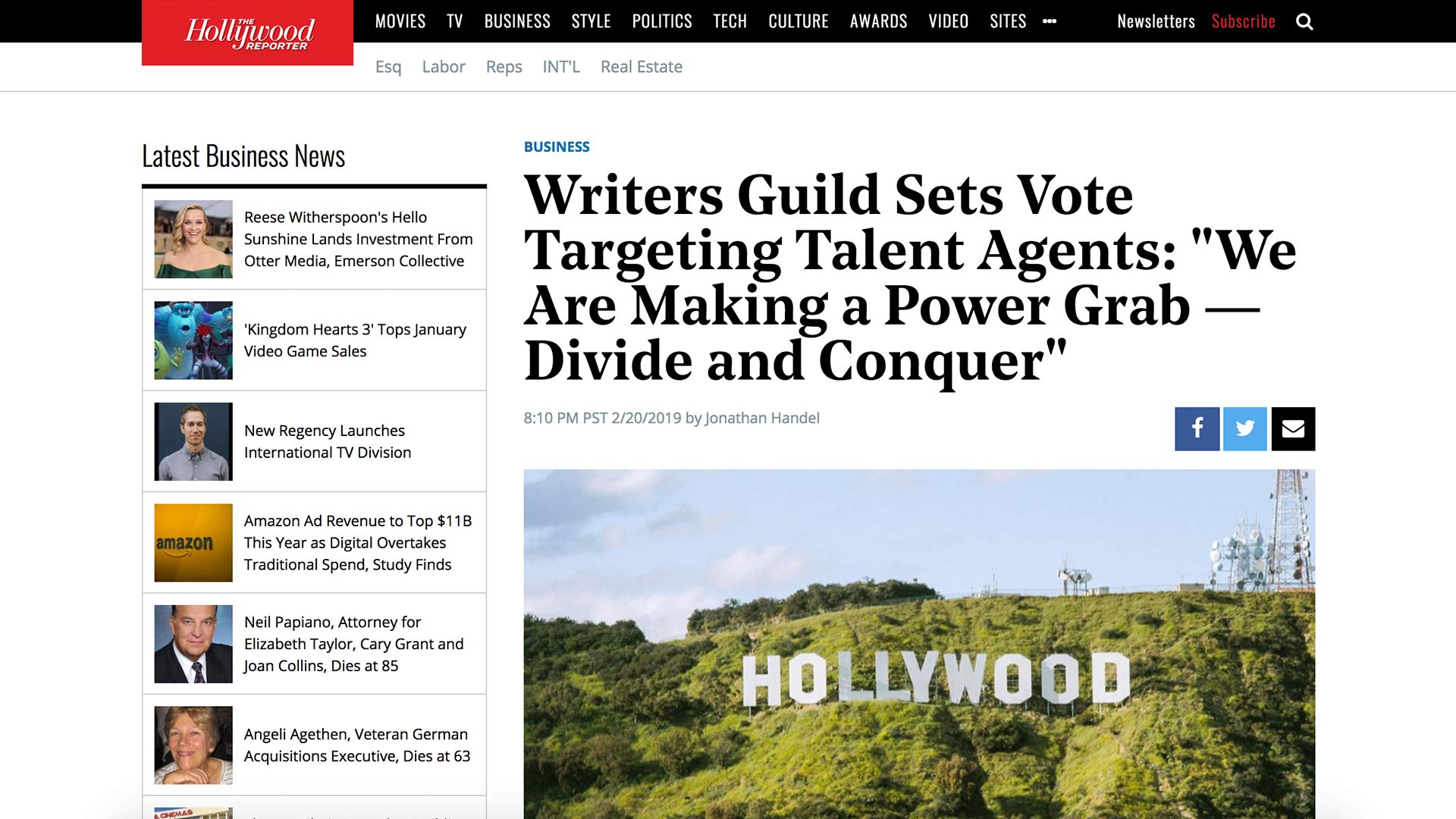 """Fairness Rocks News Writer Guild Sets Vote Targeting Talent Agents: """"We Are Making a Power Grab — Divide and Conquer"""""""