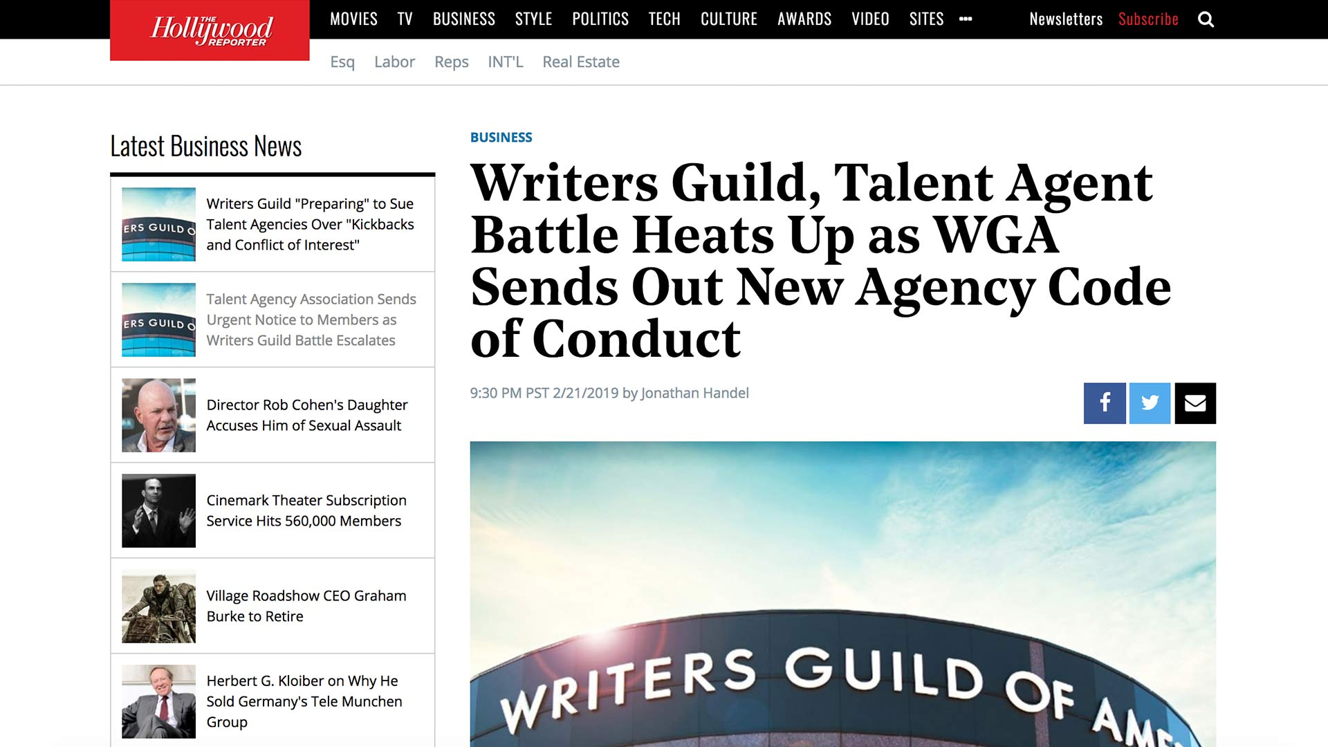 Fairness Rocks News Writers Guild, Talent Agent Battle Heats Up as WGA Sends Out New Agency Code of Conduct