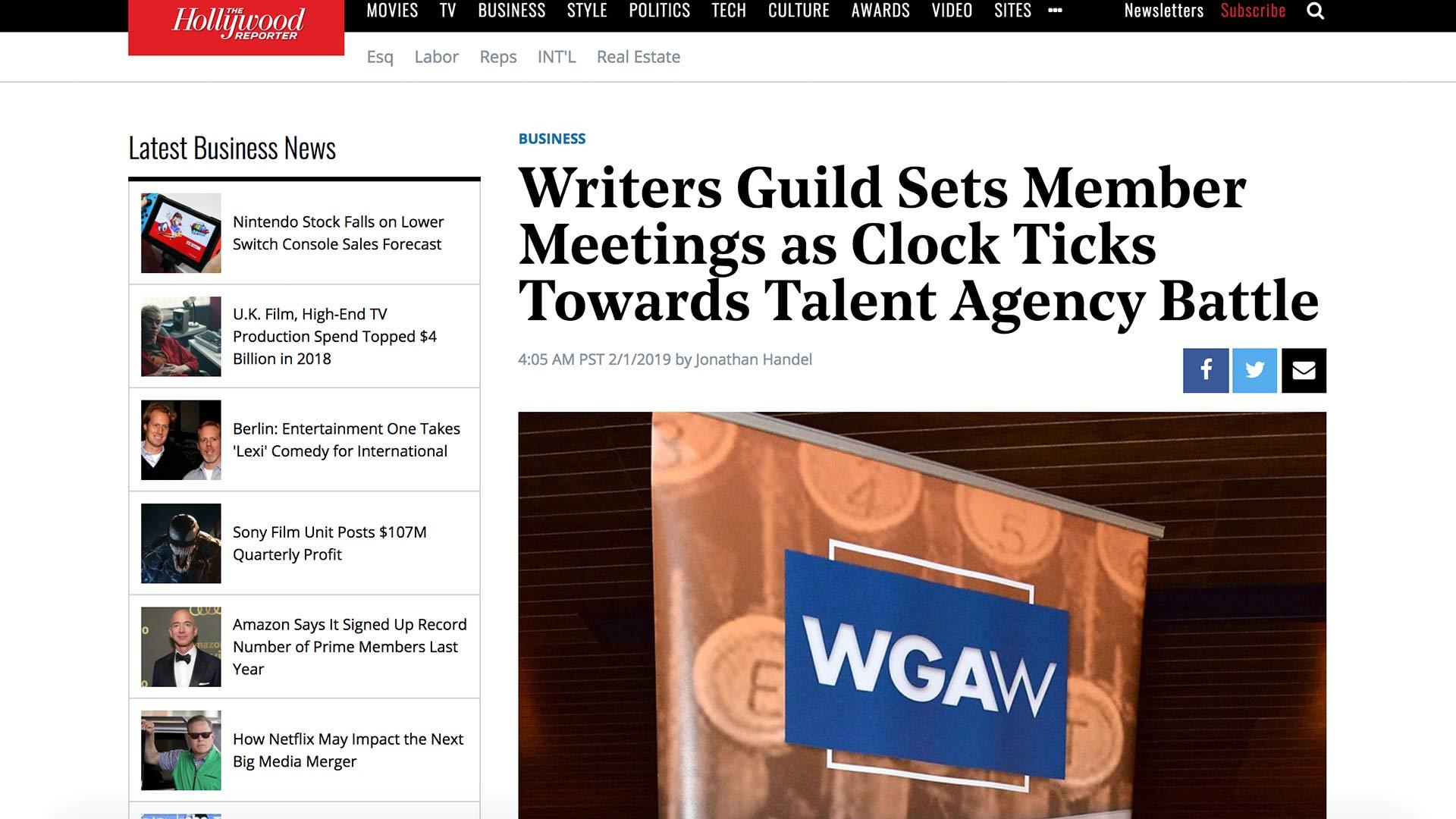 Fairness Rocks News Writers Guild Sets Member Meetings as Clock Ticks Towards Talent Agency Battle