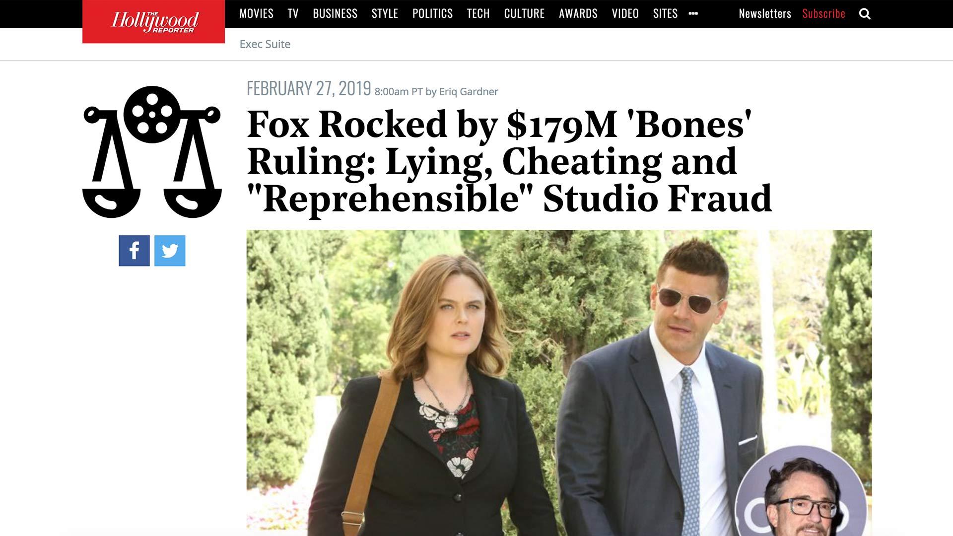 "Fairness Rocks News Fox Rocked by $179M 'Bones' Ruling: Lying, Cheating and ""Reprehensible"" Studio Fraud"