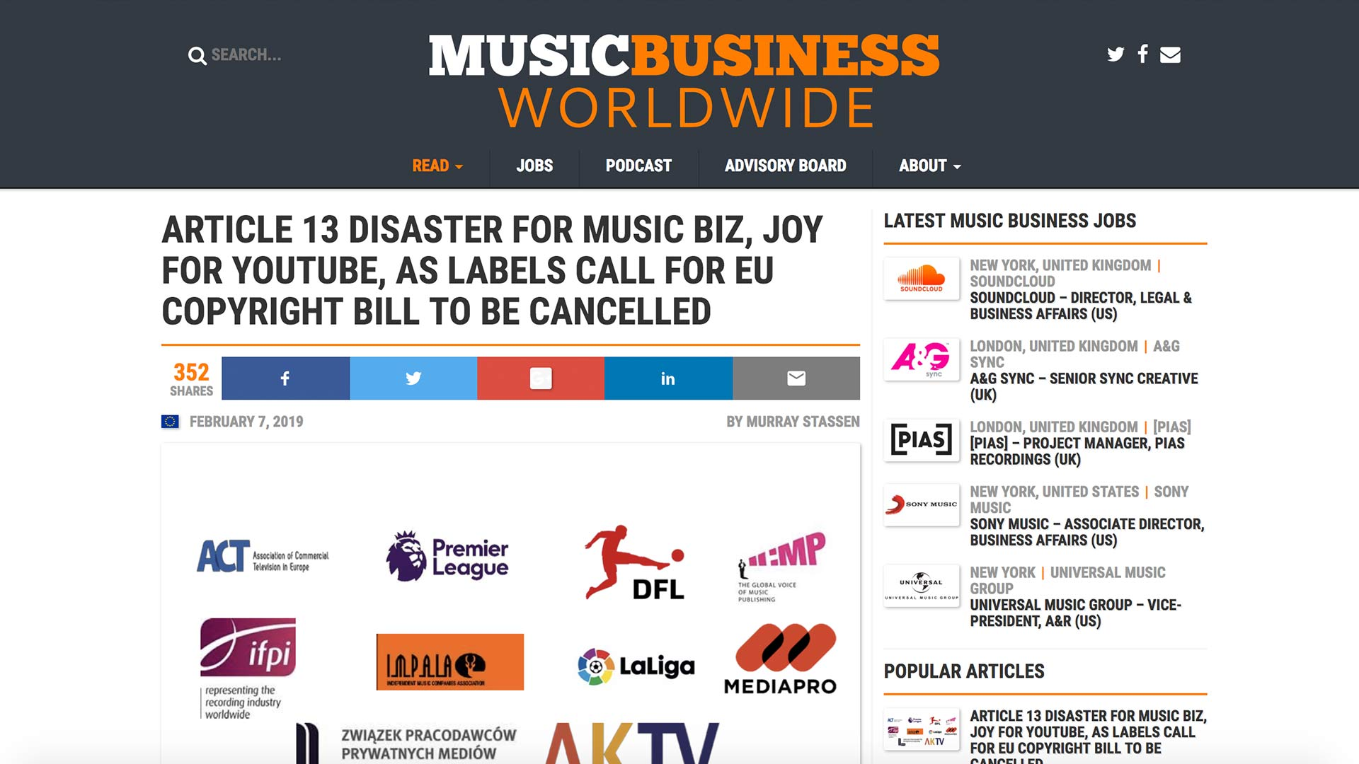 Fairness Rocks News ARTICLE 13 DISASTER FOR MUSIC BIZ, JOY FOR YOUTUBE, AS LABELS CALL FOR EU COPYRIGHT BILL TO BE CANCELLED