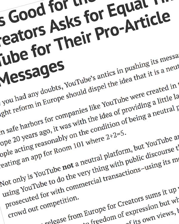 Fairness Rocks News What's Good for the Goose: Europe for Creators Asks for Equal Time on YouTube for Their Pro-Article 13 Messages