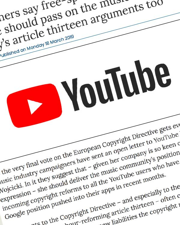 Fairness Rocks News Campaigners say free-speech loving YouTube should pass on the music industry's article thirteen arguments too