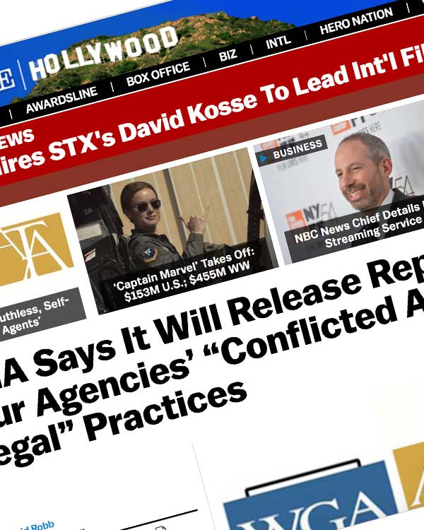 "Fairness Rocks News WGA Says It Will Release Report On Big Four Agencies' ""Conflicted And Illegal"" Practices"
