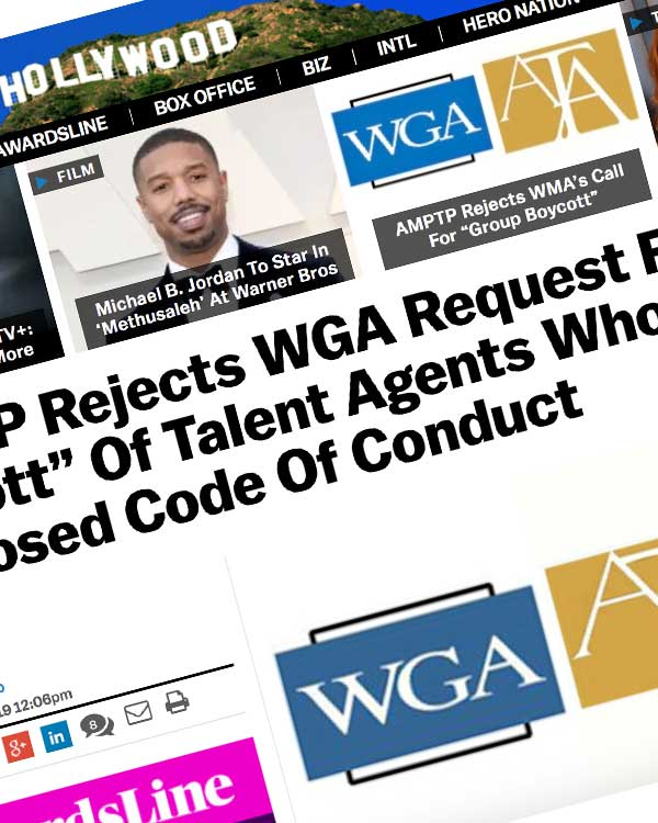 "Fairness Rocks News AMPTP Rejects WGA Request For ""Group Boycott"" Of Talent Agents Who Won't Sign Proposed Code Of Conduct"