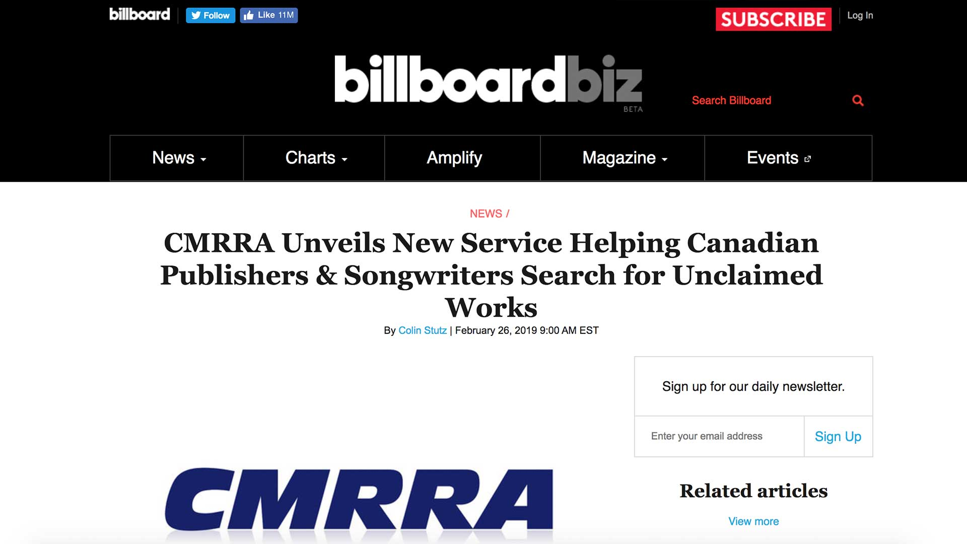 Fairness Rocks News CMRRA Unveils New Service Helping Canadian Publishers & Songwriters Search for Unclaimed Works