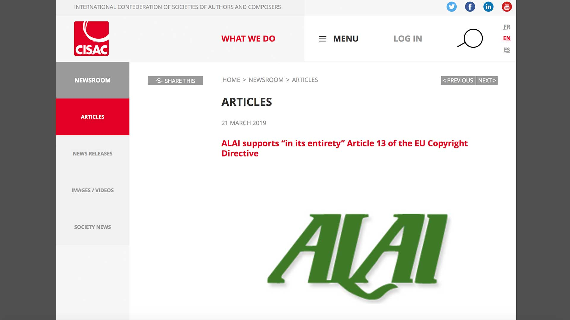 "Fairness Rocks News ALAI supports ""in its entirety"" Article 13 of the EU Copyright Directive"