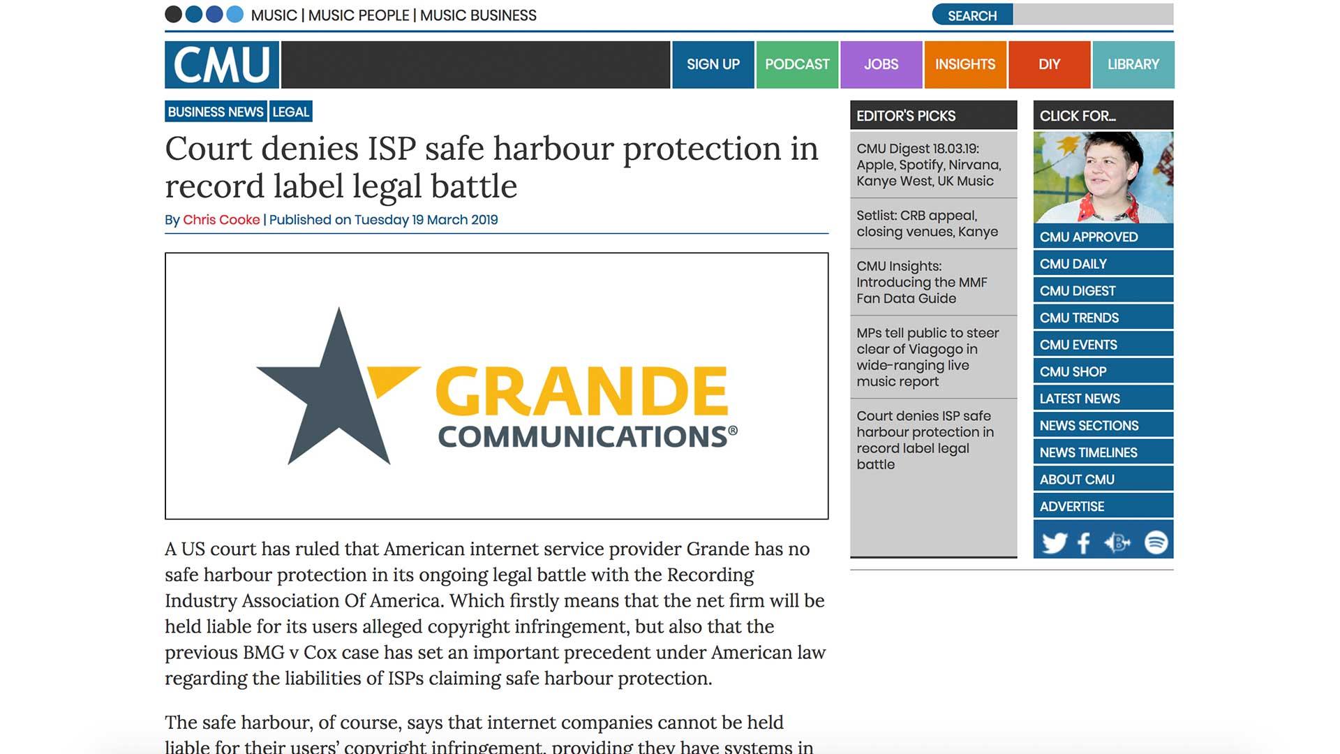 Fairness Rocks News Court denies ISP safe harbour protection in record label legal battle