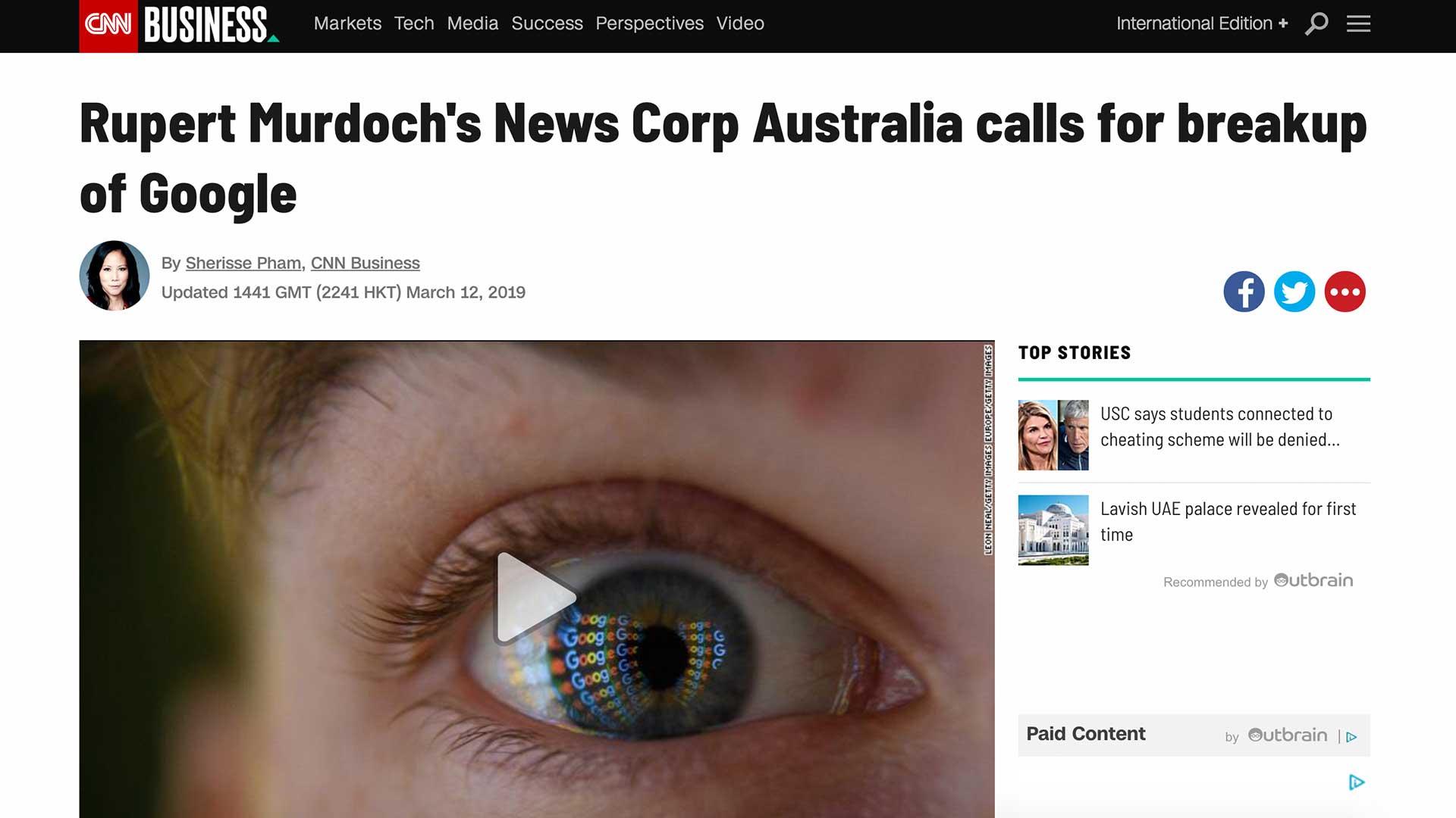 Fairness Rocks News Rupert Murdoch's News Corp Australia calls for breakup of Google