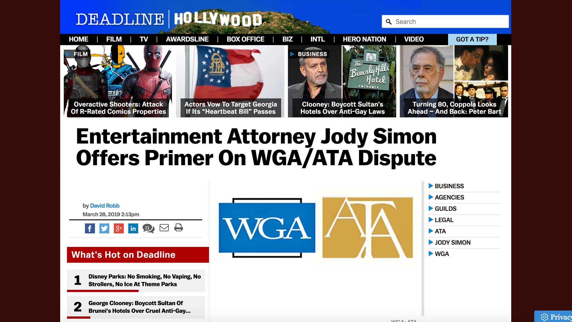 Fairness Rocks News Entertainment Attorney Jody Simon Offers Primer On WGA/ATA Dispute