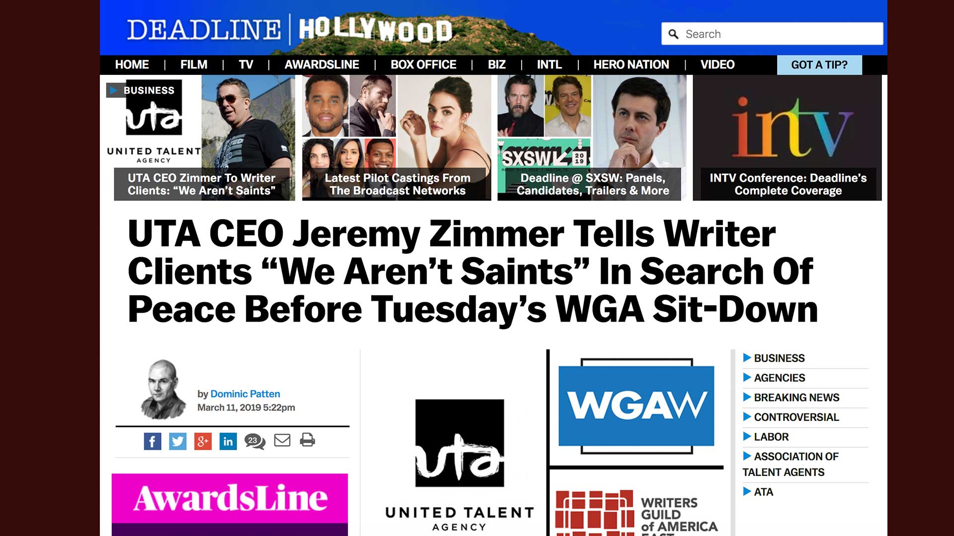 "Fairness Rocks News UTA CEO Jeremy Zimmer Tells Writer Clients ""We Aren't Saints"" In Search Of Peace Before Tuesday's WGA Sit-Down"