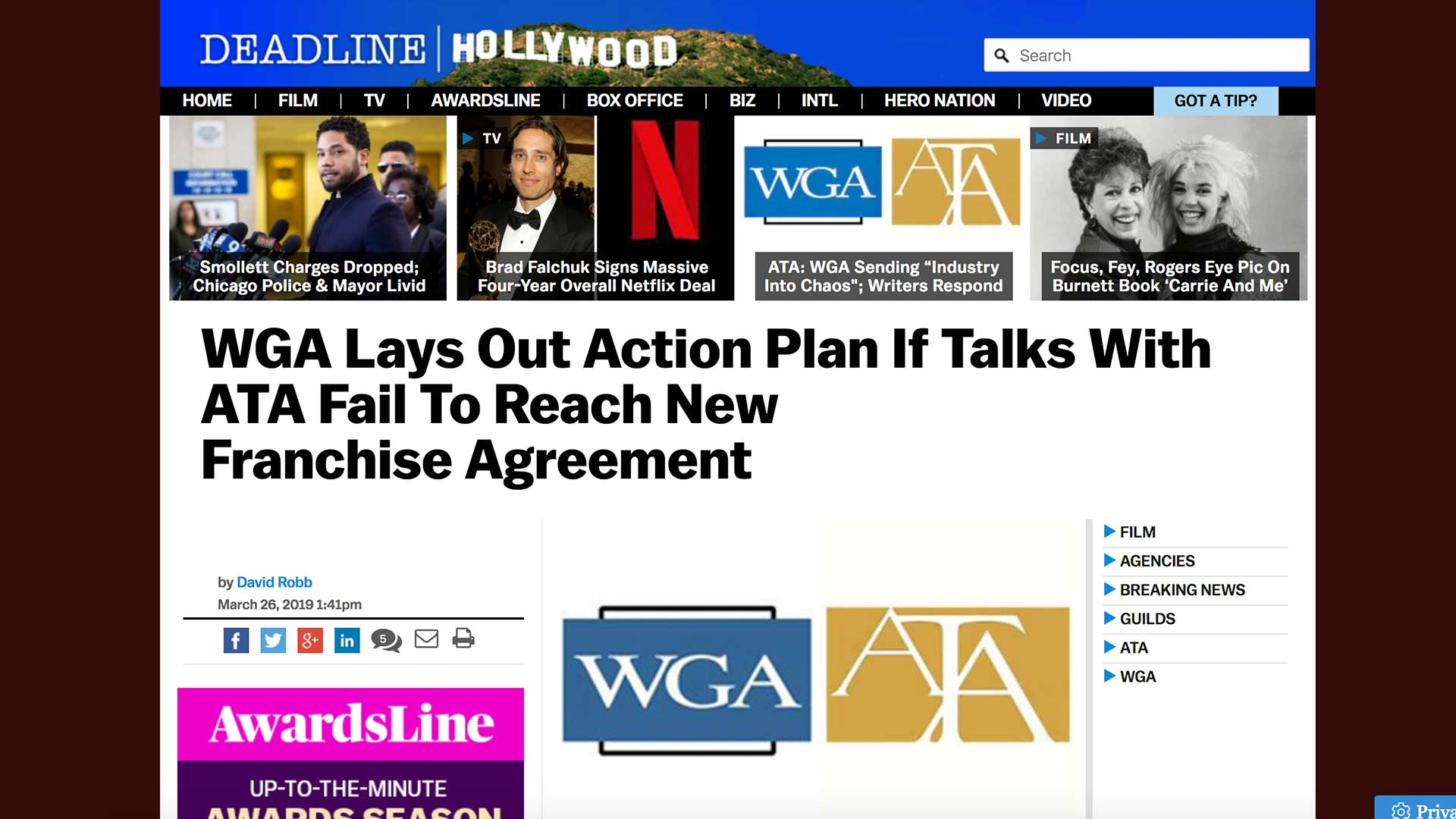 Fairness Rocks News WGA Lays Out Action Plan If Talks With ATA Fail To Reach New Franchise Agreement