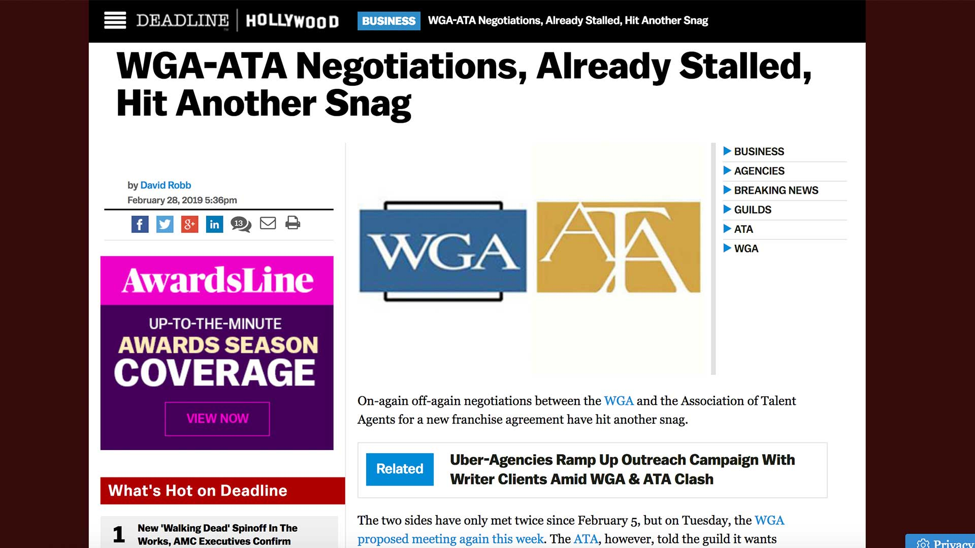 Fairness Rocks News WGA-ATA Negotiations, Already Stalled, Hit Another Snag