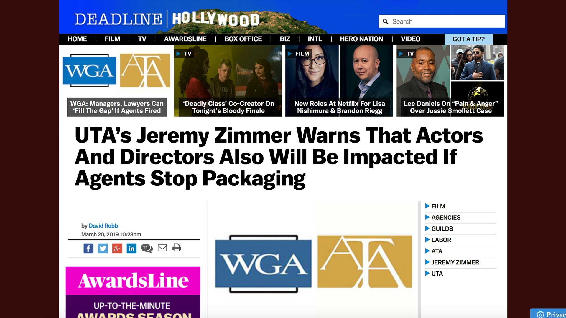 Fairness Rocks News UTA's Jeremy Zimmer Warns That Actors And Directors Also Will Be Impacted If Agents Stop Packaging