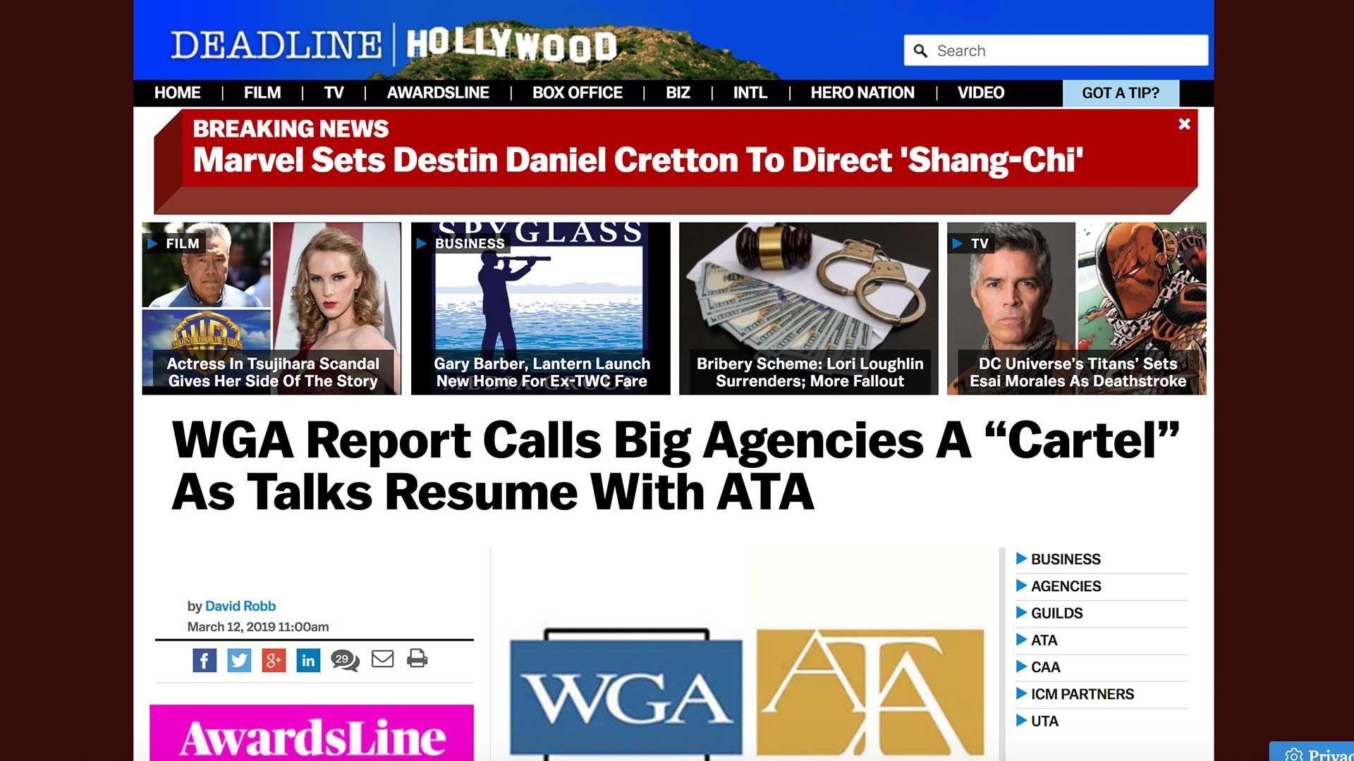 """Fairness Rocks News WGA Report Calls Big Agencies A """"Cartel"""" As Talks Resume With ATA"""
