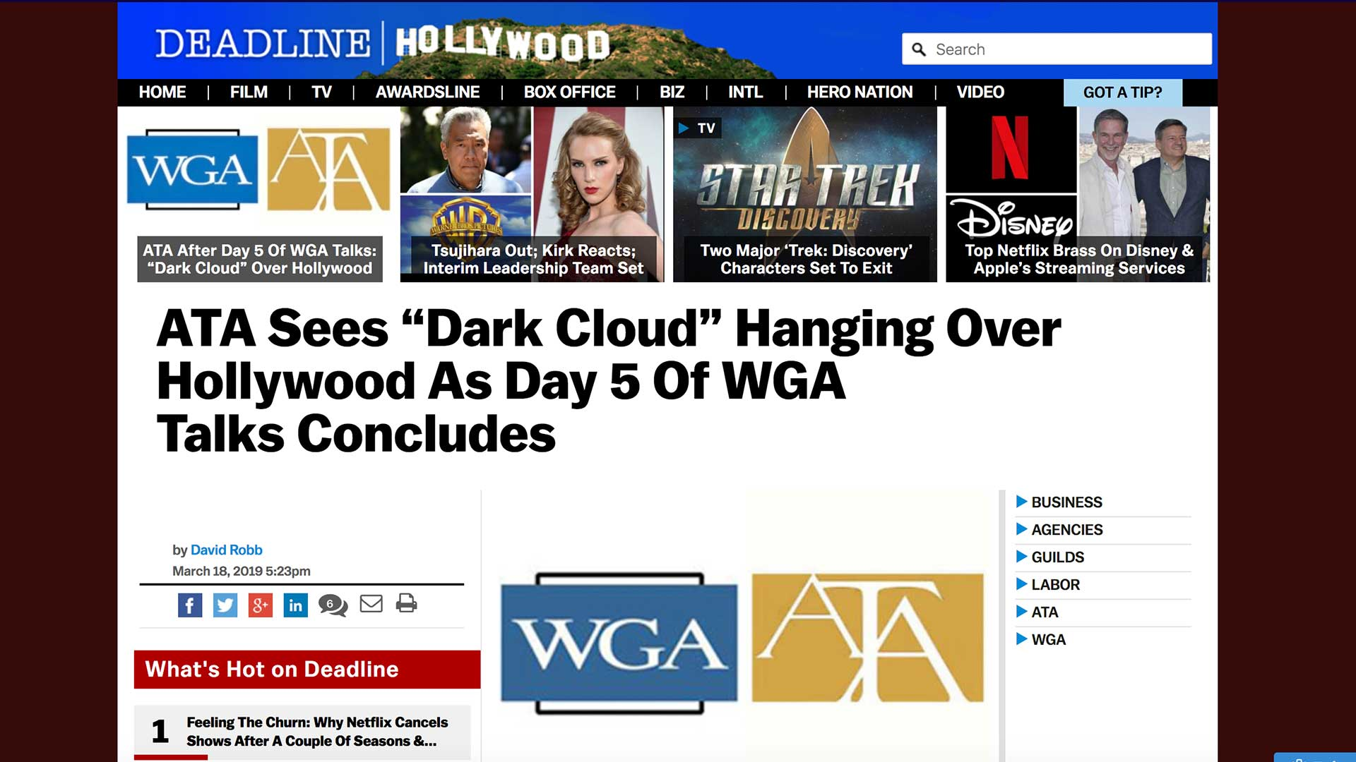 """Fairness Rocks News ATA Sees """"Dark Cloud"""" Hanging Over Hollywood As Day 5 Of WGA Talks Concludes"""