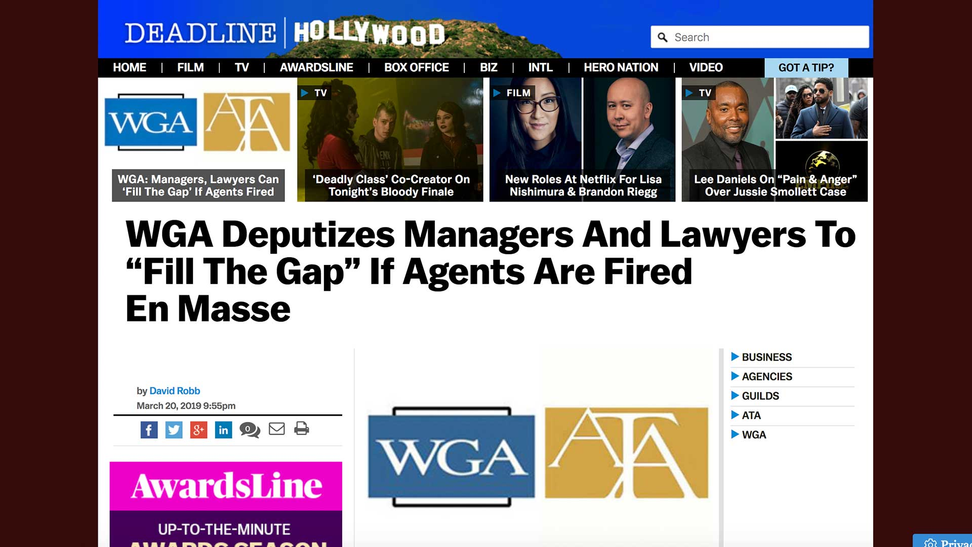 "Fairness Rocks News WGA Deputizes Managers And Lawyers To ""Fill The Gap"" If Agents Are Fired En Masse"