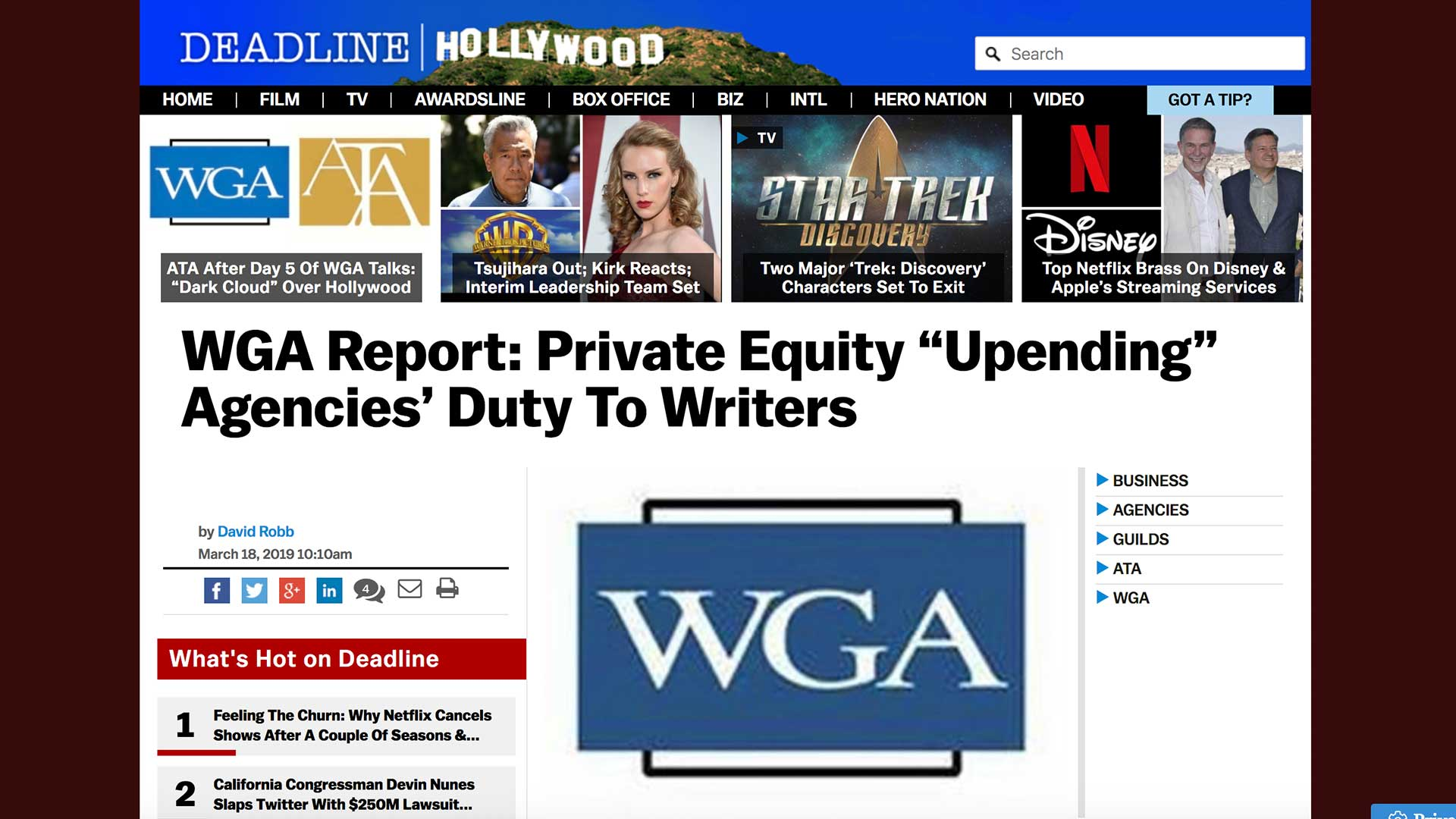 """Fairness Rocks News WGA Report: Private Equity """"Upending"""" Agencies' Duty To Writers"""